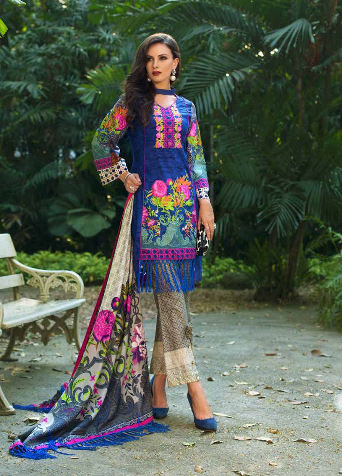 6ed5535b9d Monsoon Festivana by Al Zohaib Embroidered Lawn Unstitched 3 Piece Suit  MNF19-L2 4B - Spring / Summer Collection