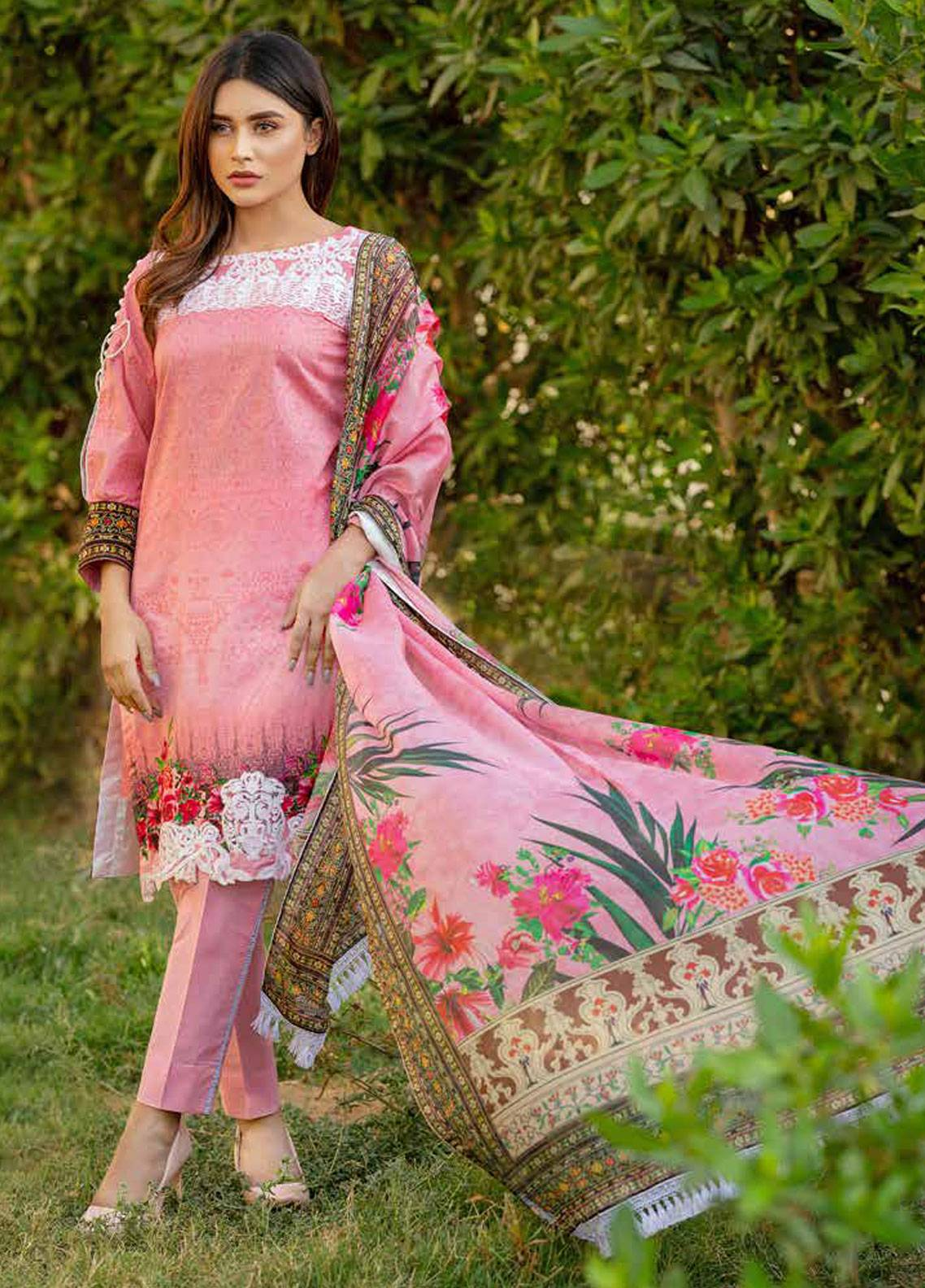 705906832f Monsoon Festivana by Al Zohaib Embroidered Lawn Unstitched 3 Piece Suit  MNF19-L2 5B - Spring / Summer Collection
