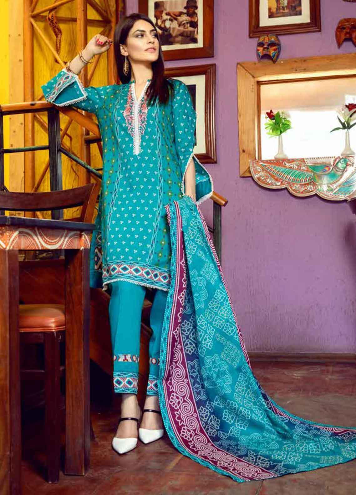 Monsoon by Al Zohaib Printed Lawn Unstitched 3 Piece Suit MN19-L3 10C - Mid Summer Collection