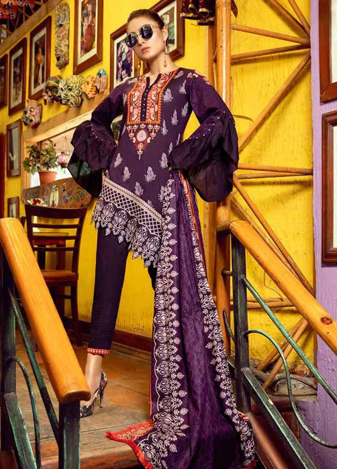 Monsoon by Al Zohaib Printed Lawn Unstitched 3 Piece Suit MN19-L3 6A - Mid Summer Collection