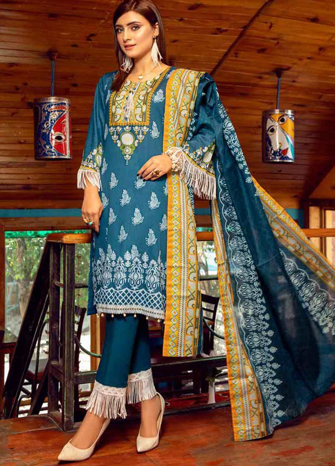 Monsoon by Al Zohaib Printed Lawn Unstitched 3 Piece Suit MN19-L3 6C - Mid Summer Collection