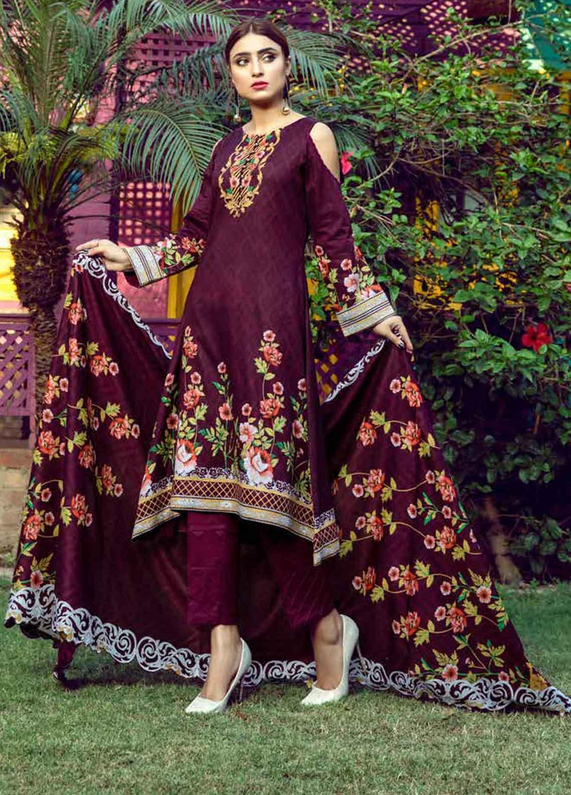 Monsoon by Al Zohaib Printed Lawn Unstitched 3 Piece Suit MN19-L3 7B - Mid Summer Collection
