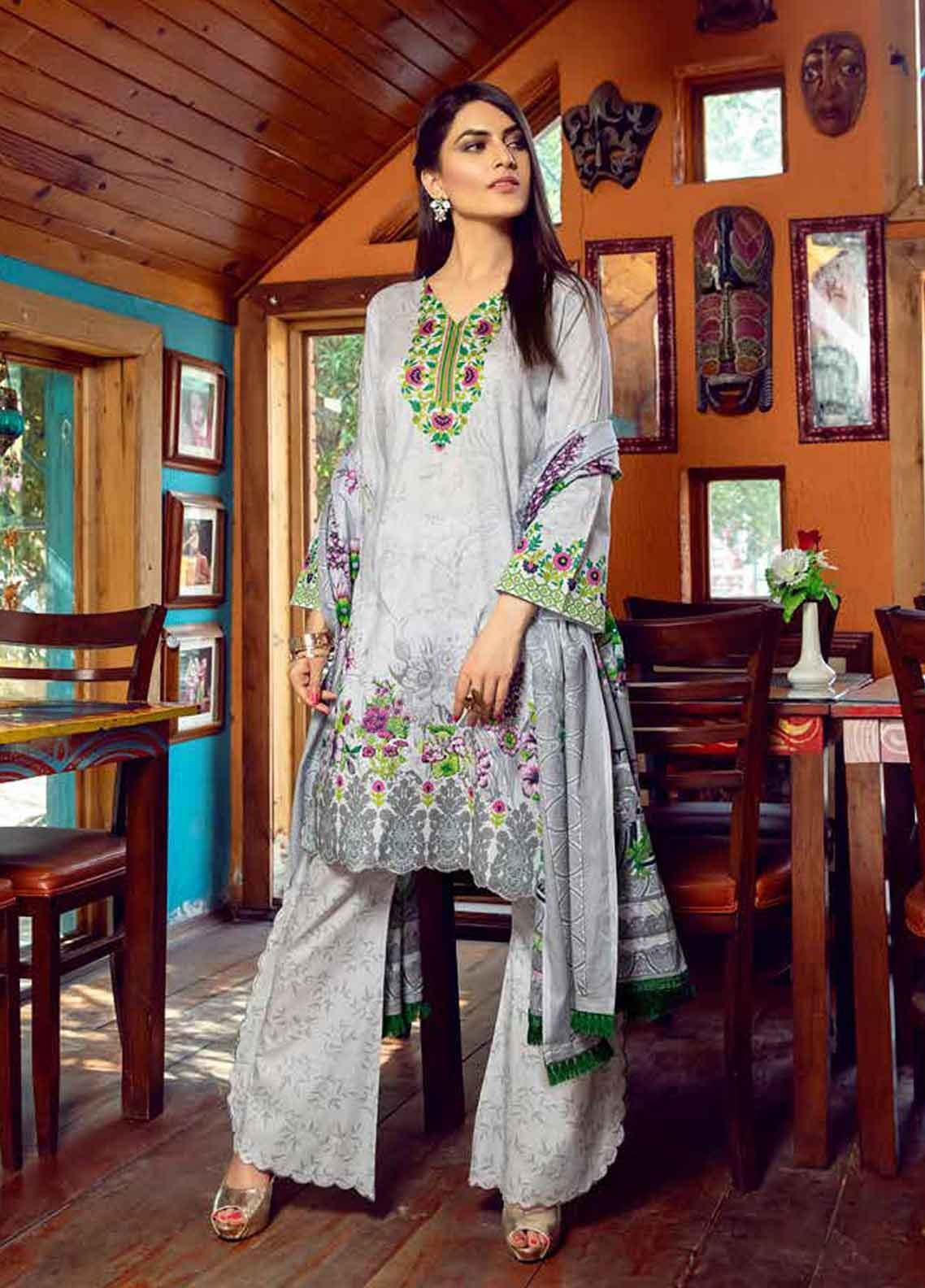 Monsoon by Al Zohaib Printed Lawn Unstitched 3 Piece Suit MN19-L3 8B - Mid Summer Collection