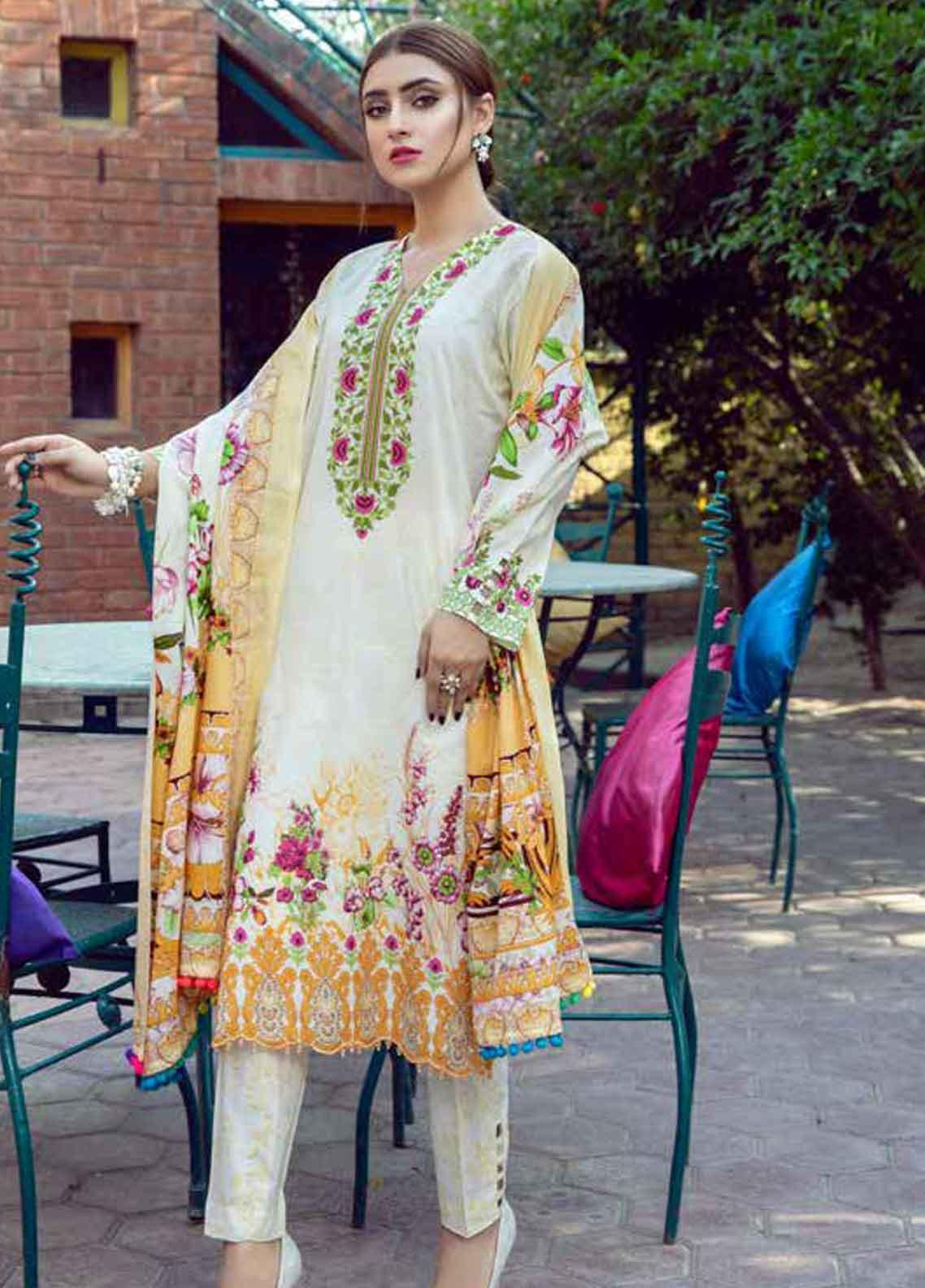 Monsoon by Al Zohaib Printed Lawn Unstitched 3 Piece Suit MN19-L3 8C - Mid Summer Collection