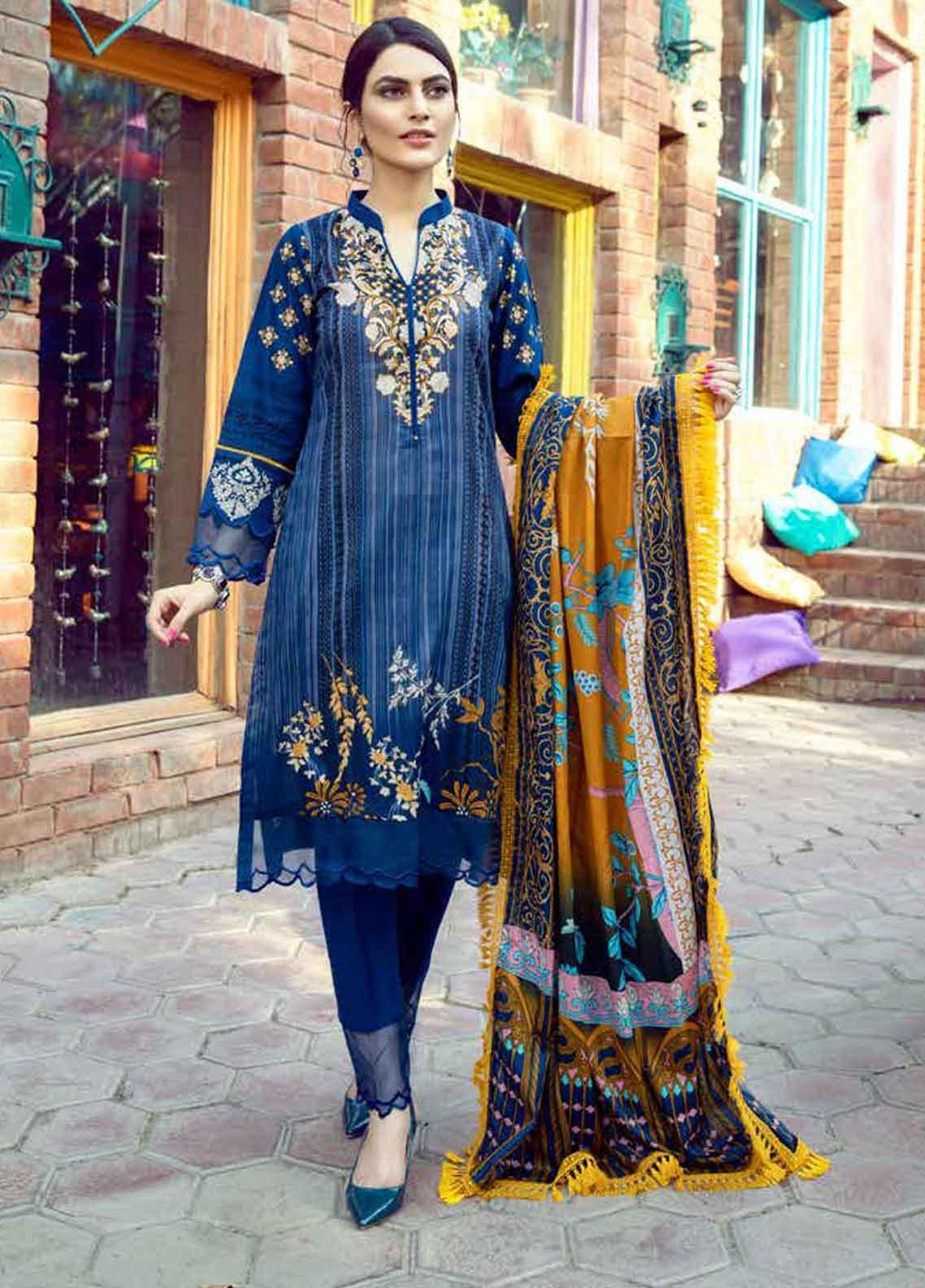 Monsoon by Al Zohaib Printed Lawn Unstitched 3 Piece Suit MN19-L3 9A - Mid Summer Collection
