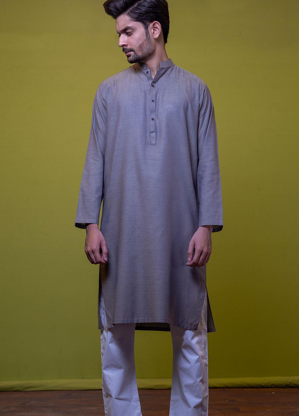 Mosaic Cotton Formal Kurtas for Men -  3303 Grey