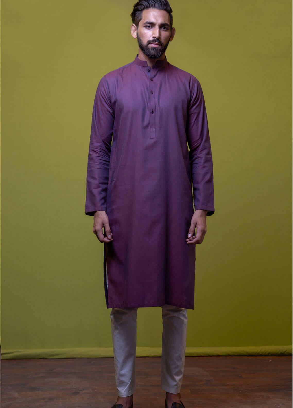 Mosaic Cotton Formal Men Kurtas -  3304 Purple
