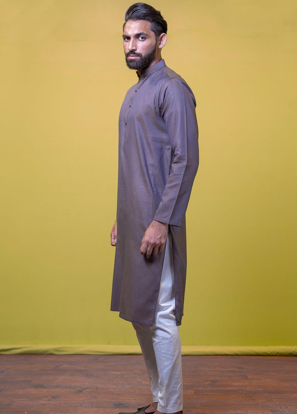 Mosaic Cotton Formal Kurtas for Men -  3305 Dark Grey