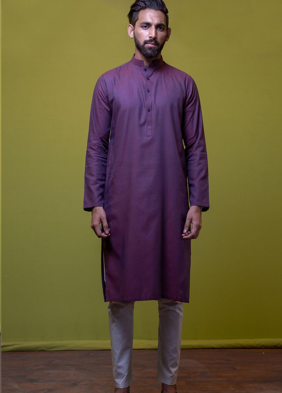 Mosaic Cotton Formal Men Kurtas -  3306 Dark Purple