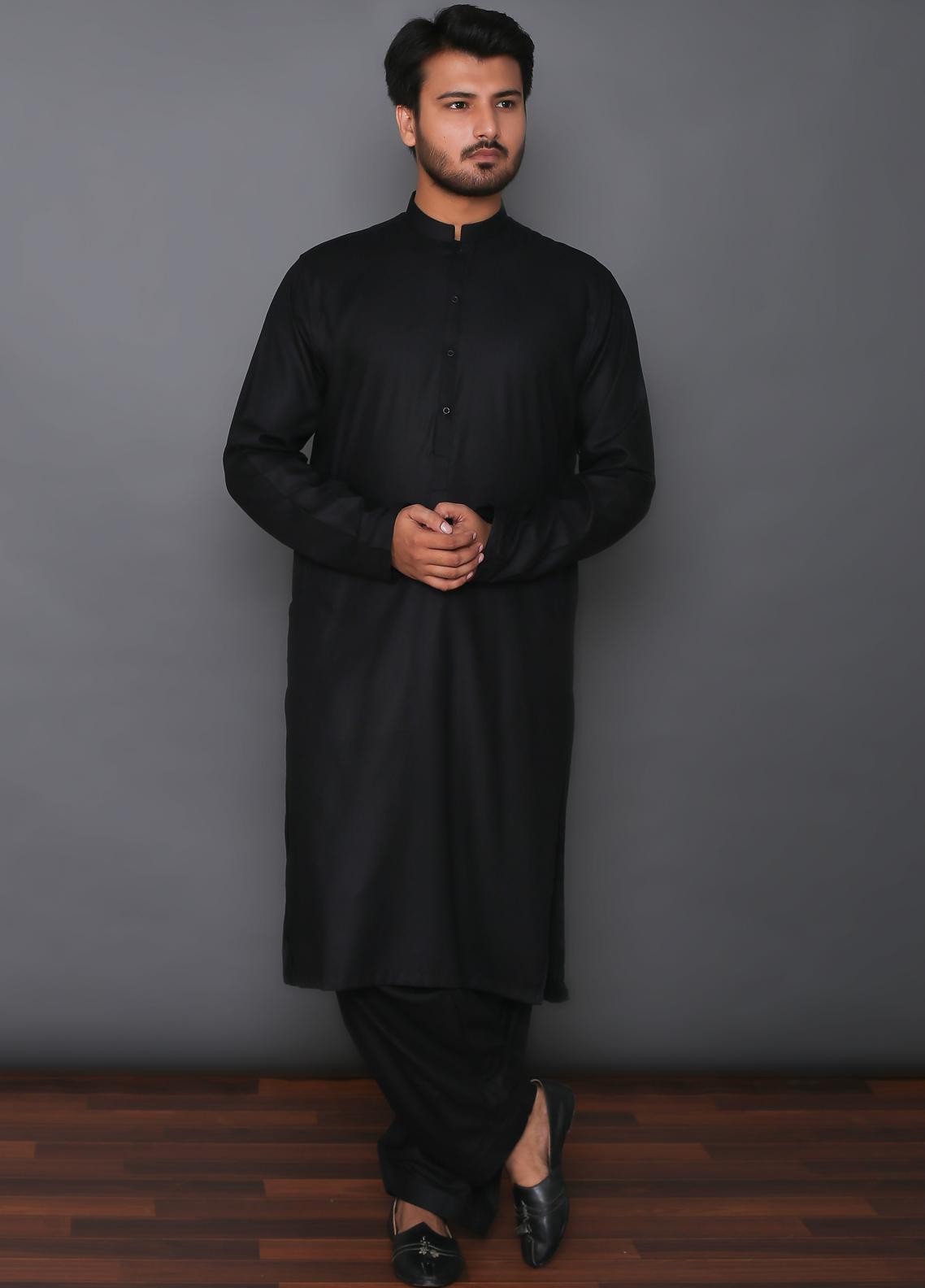 Mosaic Wash N Wear Formal Kameez Shalwar for Men -  MD 101 Black