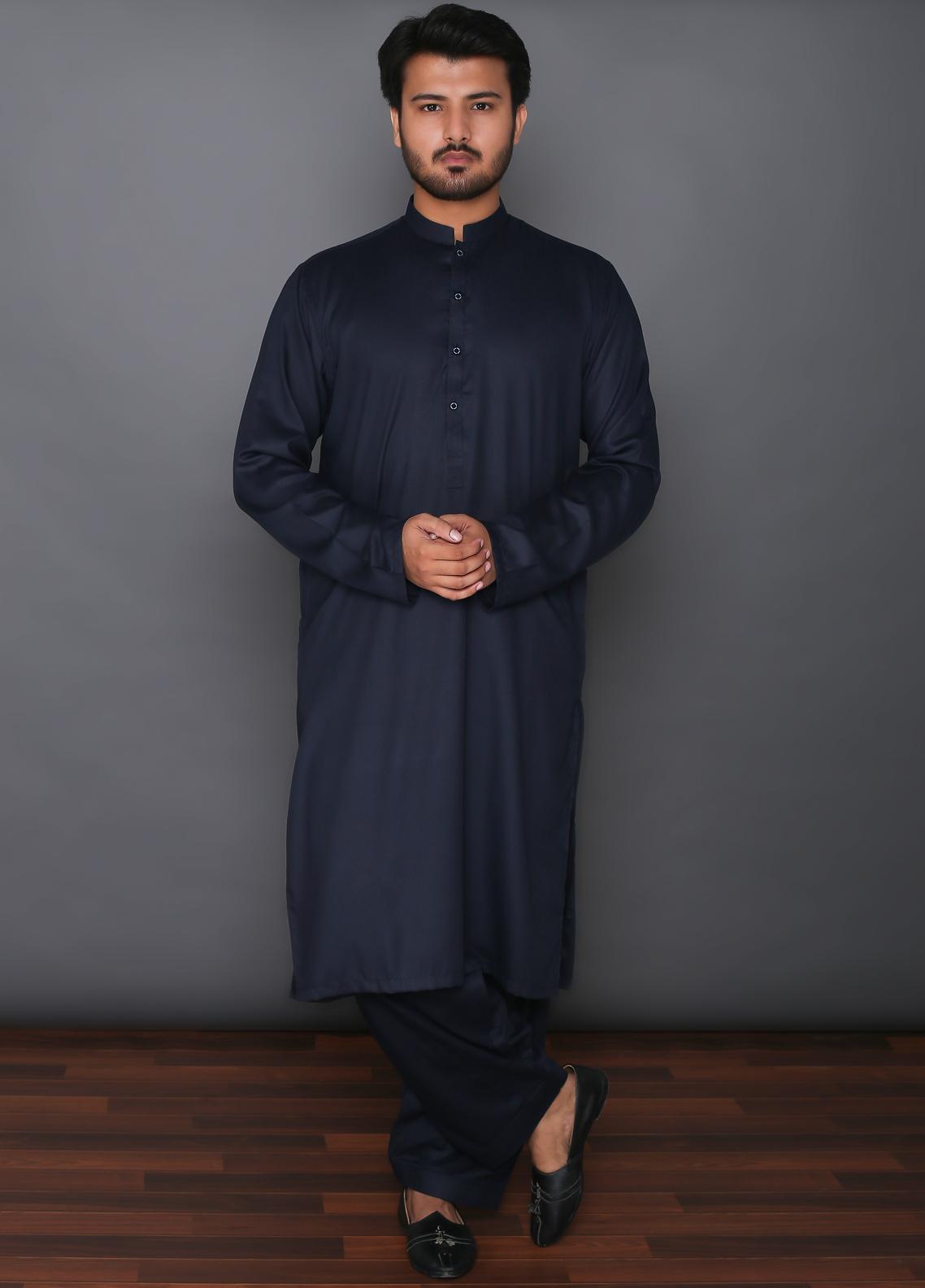 Mosaic Wash N Wear Formal Men Kameez Shalwar -  MD 101 Blue