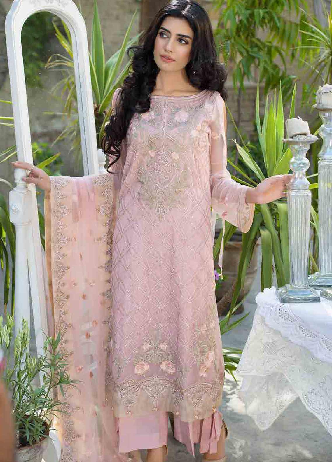 Motifz Embroidered Chiffon Unstitched 3 Piece Suit MTF19-C3 2255 CHESTNUT PINK - Luxury Collection
