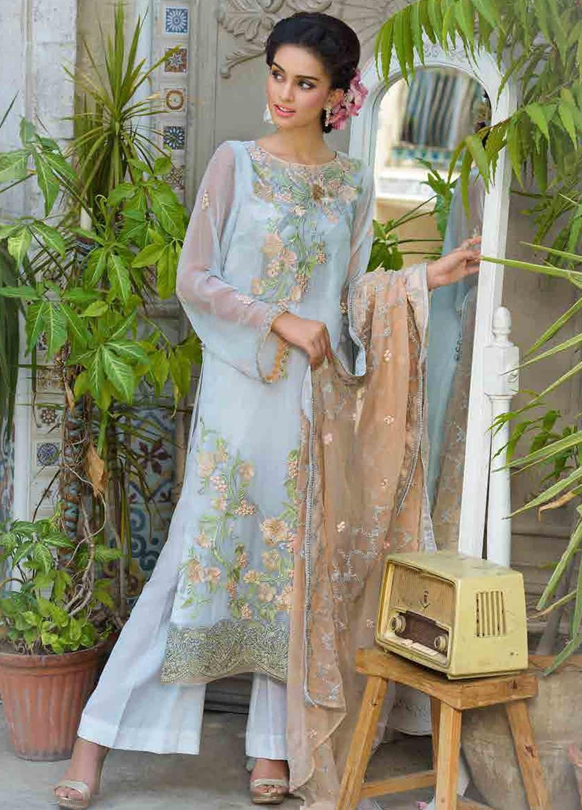 Motifz Embroidered Chiffon Unstitched 3 Piece Suit MTF19-C3 2257 CLOUD WHITE - Luxury Collection