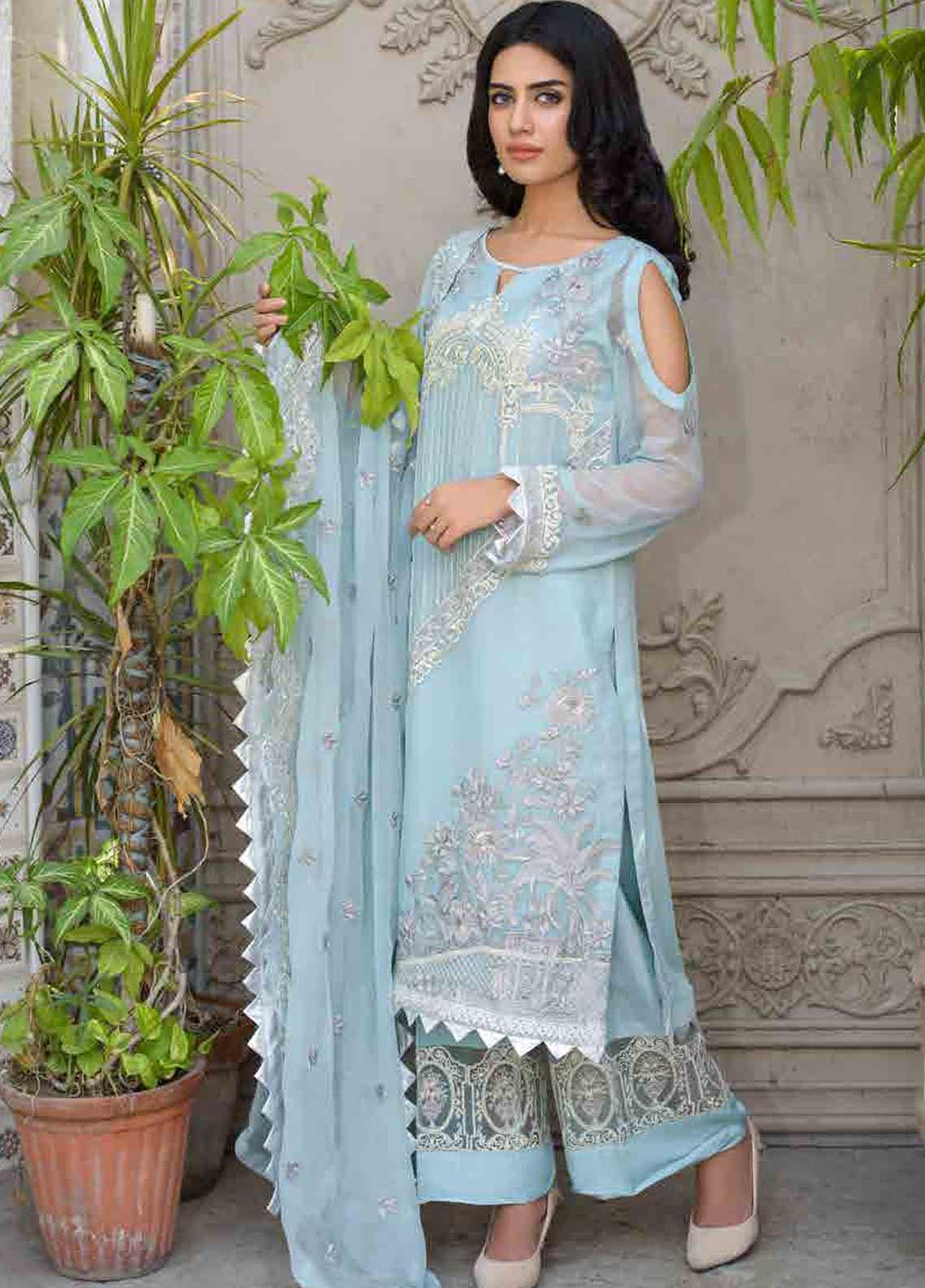 Motifz Embroidered Chiffon Unstitched 3 Piece Suit MTF19-C3 2262 AQUA BLUE - Luxury Collection