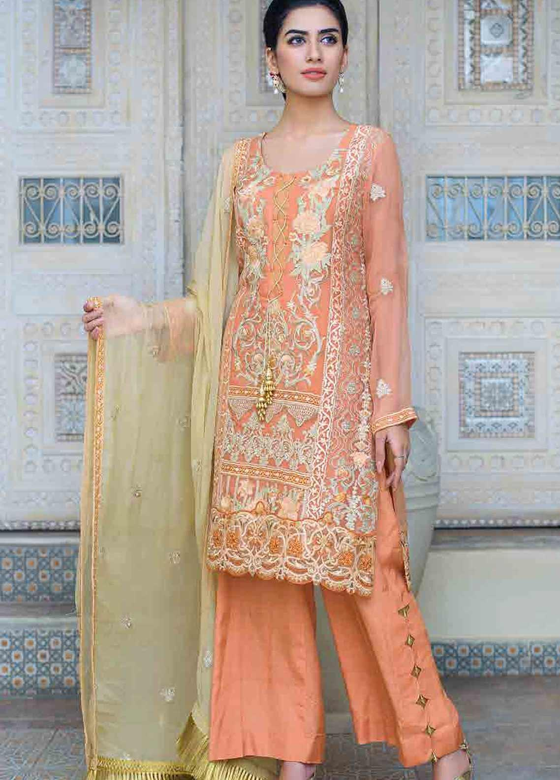 Motifz Embroidered Chiffon Unstitched 3 Piece Suit MTF19-C3 2263 PALE RUST - Luxury Collection
