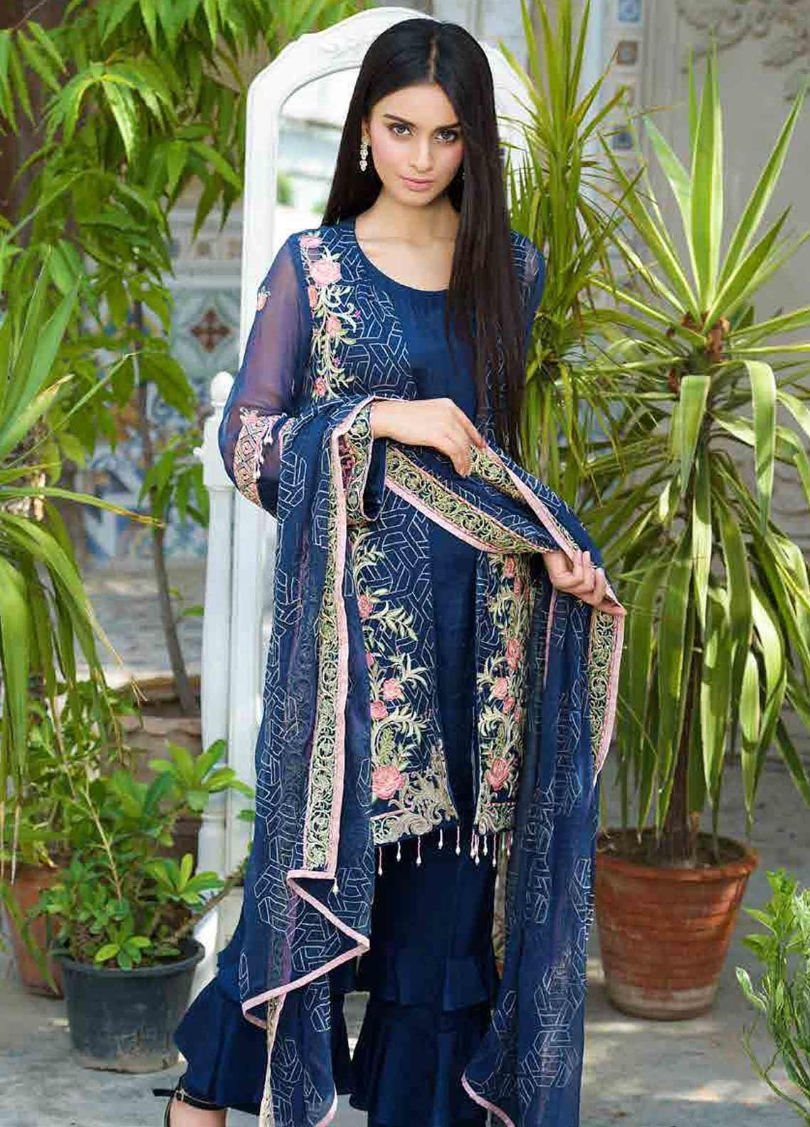 Motifz Embroidered Chiffon Unstitched 3 Piece Suit MTF19-C3 2264 MOONLIGHT BLUE - Luxury Collection