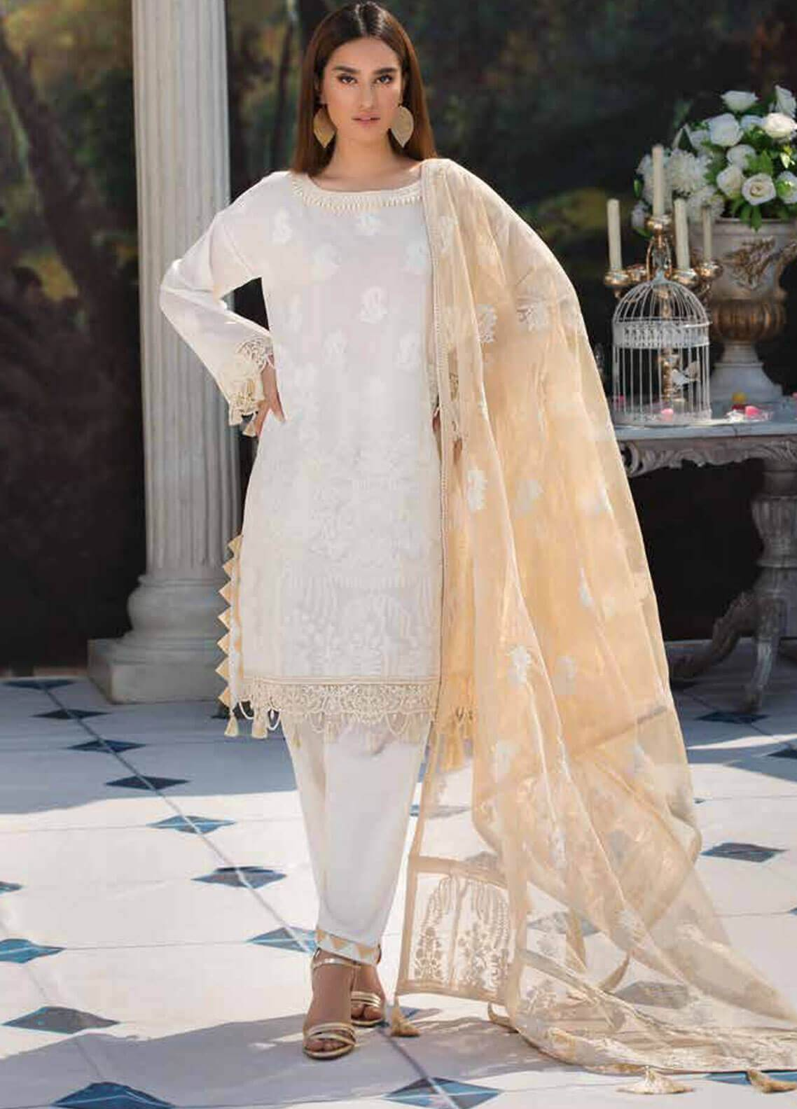 75f1e7a790 Motifz Embroidered Lawn Unstitched 3 Piece Suit MT19L 2203 DREAMY WHITE -  Spring / Summer Collection