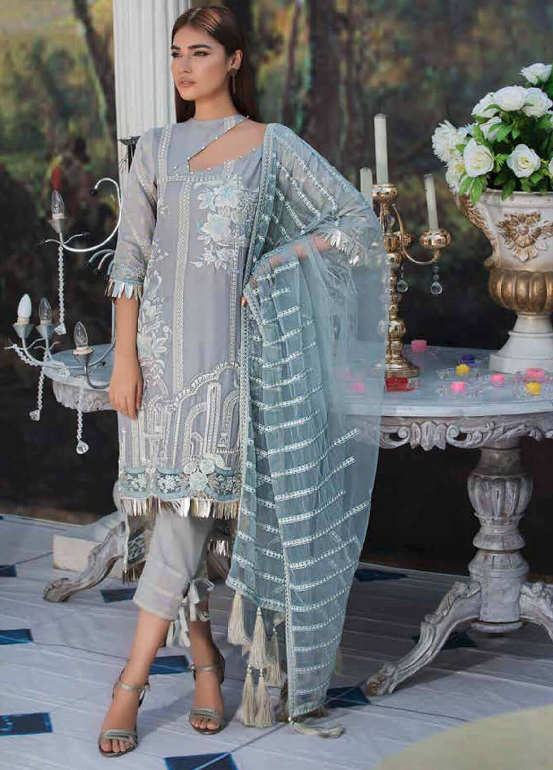 Motifz Embroidered Lawn Unstitched 3 Piece Suit MT19L 2210 ROMAN GLEAM - Spring / Summer Collection