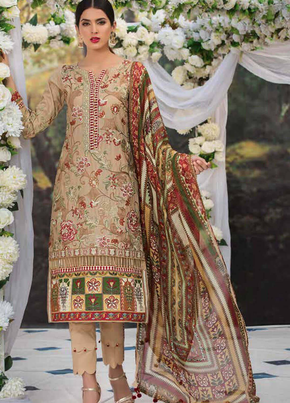 Motifz Embroidered Lawn Unstitched 3 Piece Suit MT19L 2214 REGAL KANTHA - Spring / Summer Collection