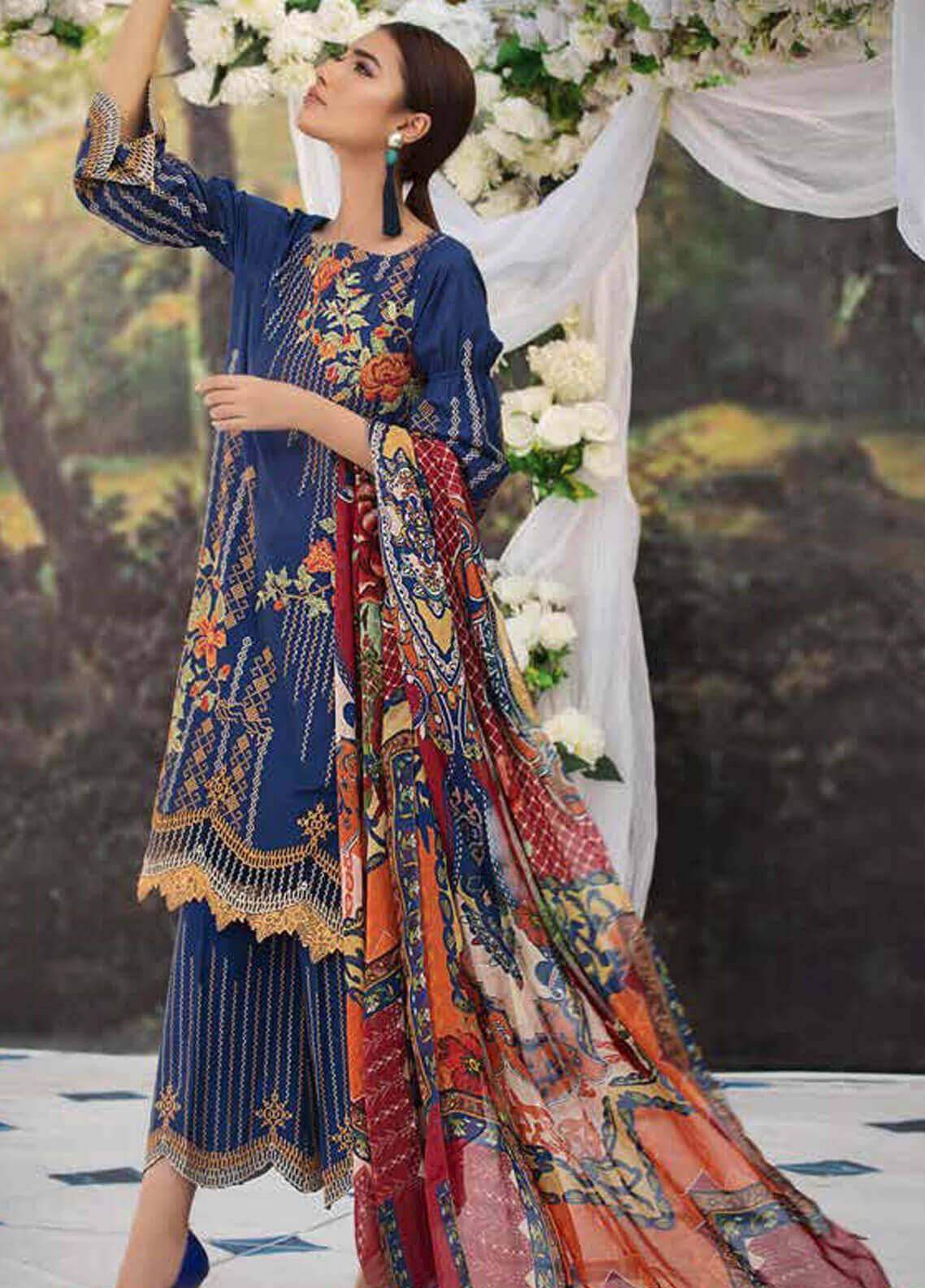 Motifz Embroidered Lawn Unstitched 3 Piece Suit MT19L 2215 CROSS STITCH BUNCH - Spring / Summer Collection