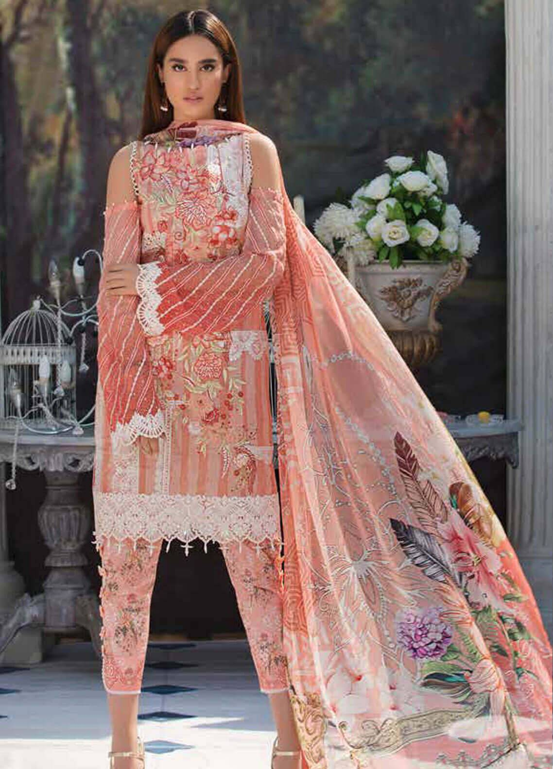 Motifz Embroidered Lawn Unstitched 3 Piece Suit MT19L 2218 CHANTILY GRACE - Spring / Summer Collection