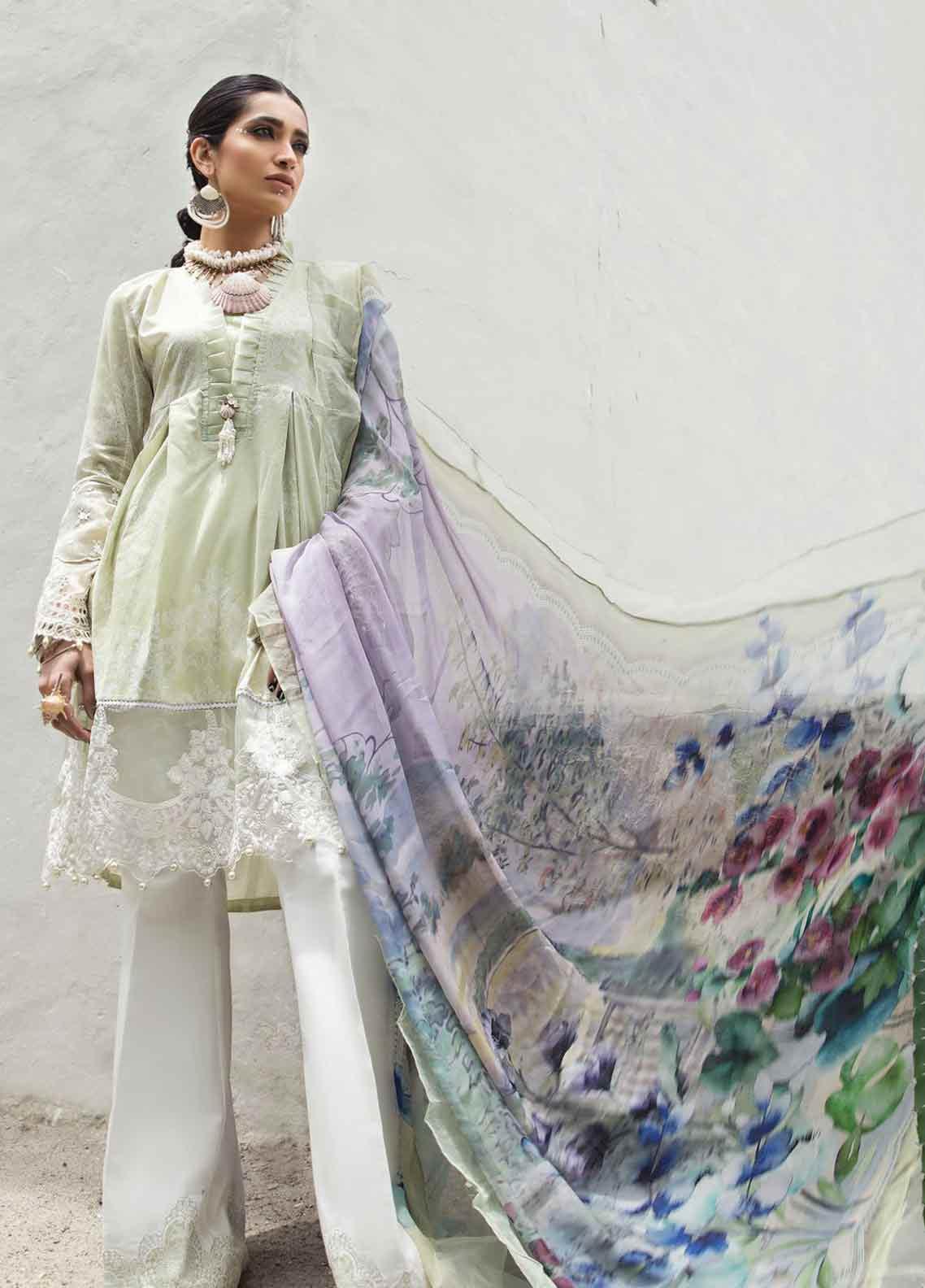 Maria B MPrints Embroidered Lawn Unstitched 3 Piece Suit MBP19K 7B - Festive Collection