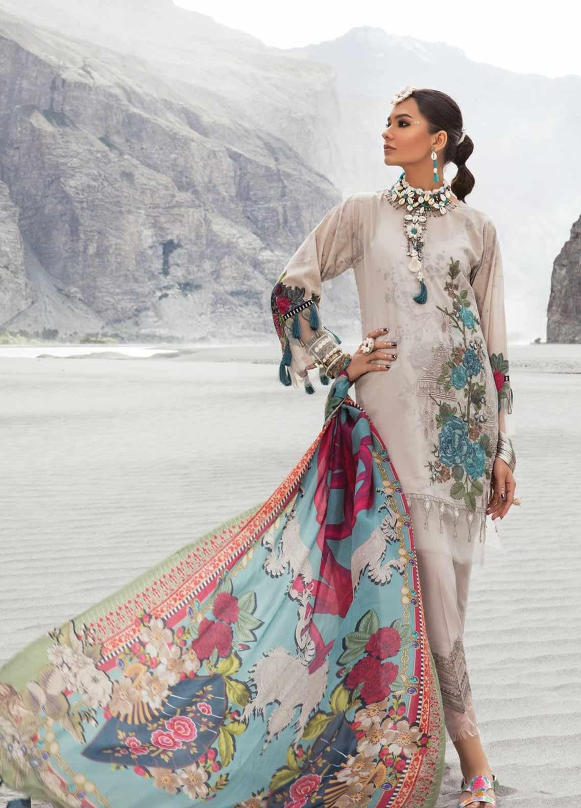 Maria B MPrints Embroidered Lawn Unstitched 3 Piece Suit MBP19K 9A - Festive Collection