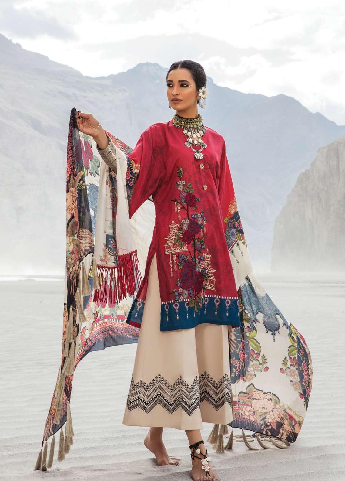 Maria B MPrints Embroidered Lawn Unstitched 3 Piece Suit MBP19K 9B - Festive Collection