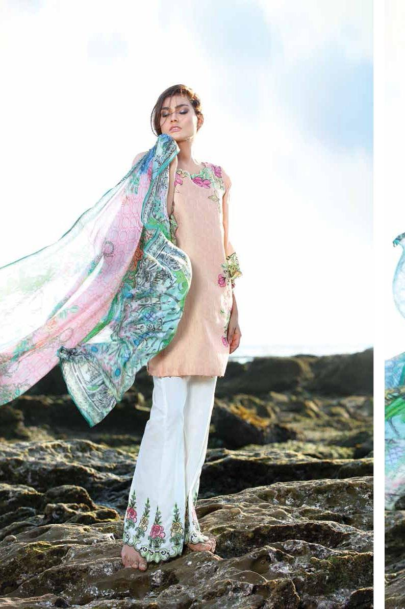 Motifz Embroidered Lawn Unstitched 3 Piece Suit MT17L 1584B