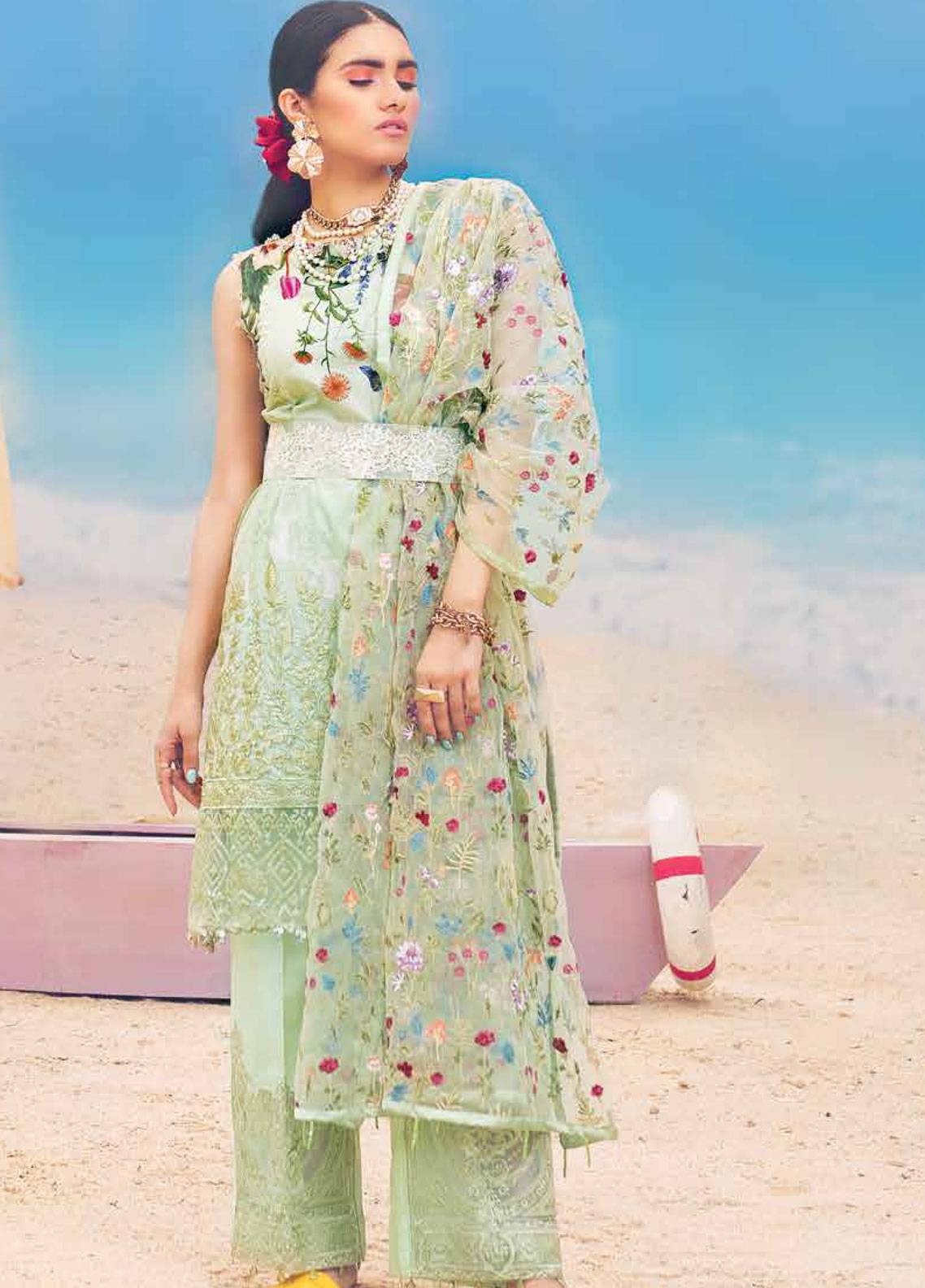 MusCari Embroidered Lawn Unstitched 3 Piece Suit MC19L 09 MARGRITA - Spring / Summer Collection