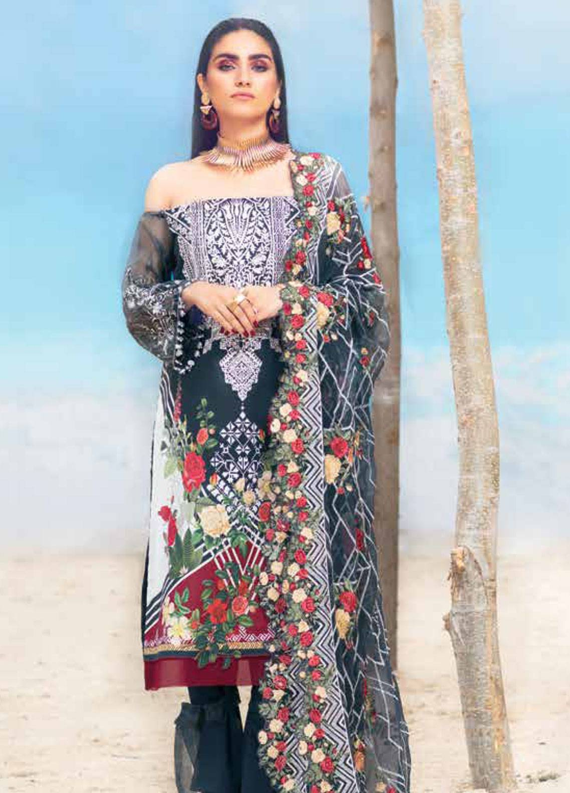 MusCari Embroidered Lawn Unstitched 3 Piece Suit MC19L 10 CHARCOAL - Spring / Summer Collection