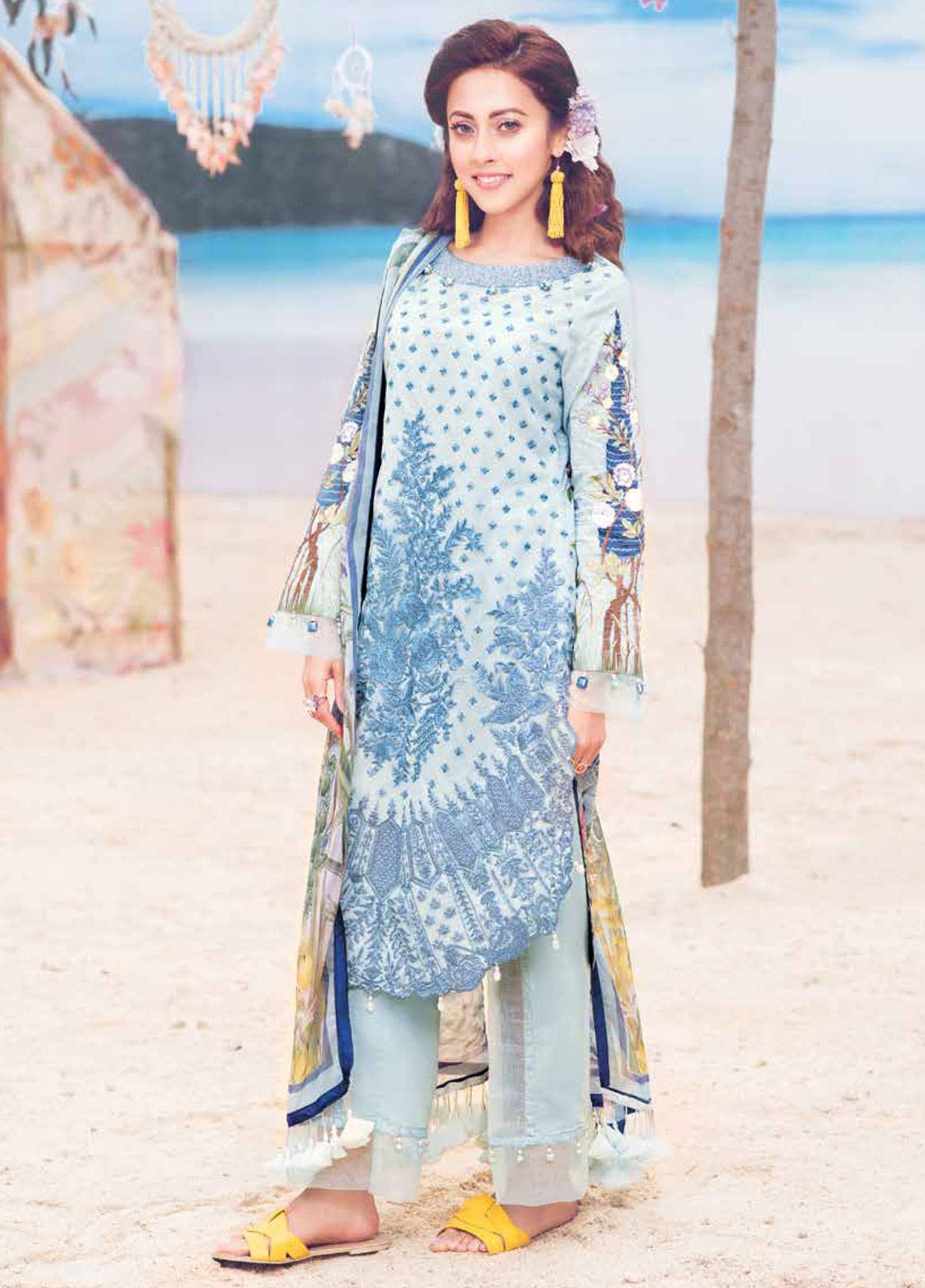 MusCari Embroidered Lawn Unstitched 3 Piece Suit MC19L 11 RIVER BLUE - Spring / Summer Collection