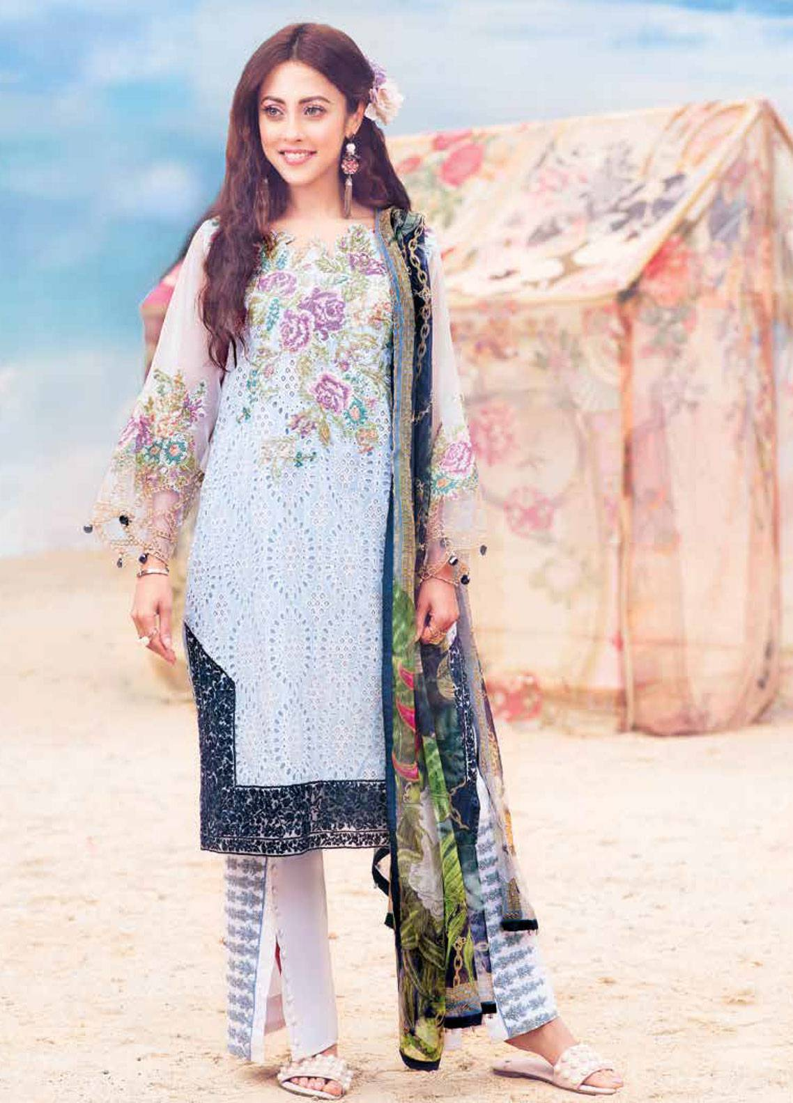 MusCari Embroidered Lawn Unstitched 3 Piece Suit MC19L 14 COOL BLUE - Spring / Summer Collection