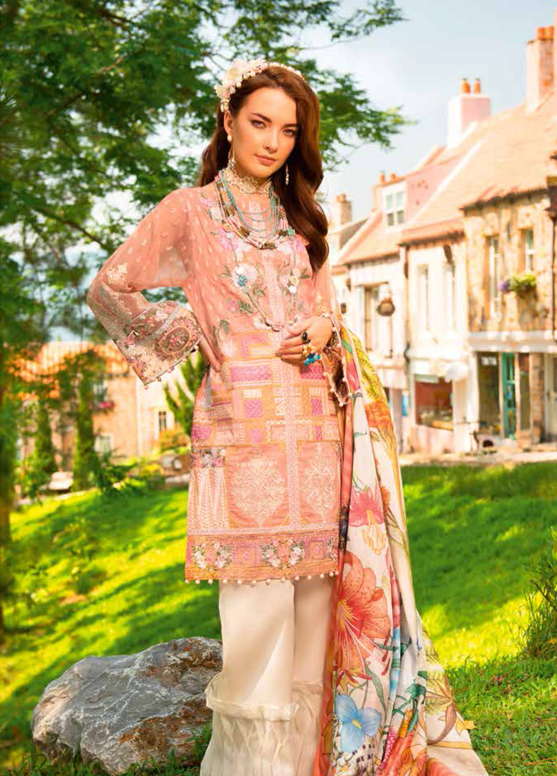 MusCari Embroidered Lawn Unstitched 3 Piece Suit MC19F 01 TROPICAL PEACH - Festive Collection