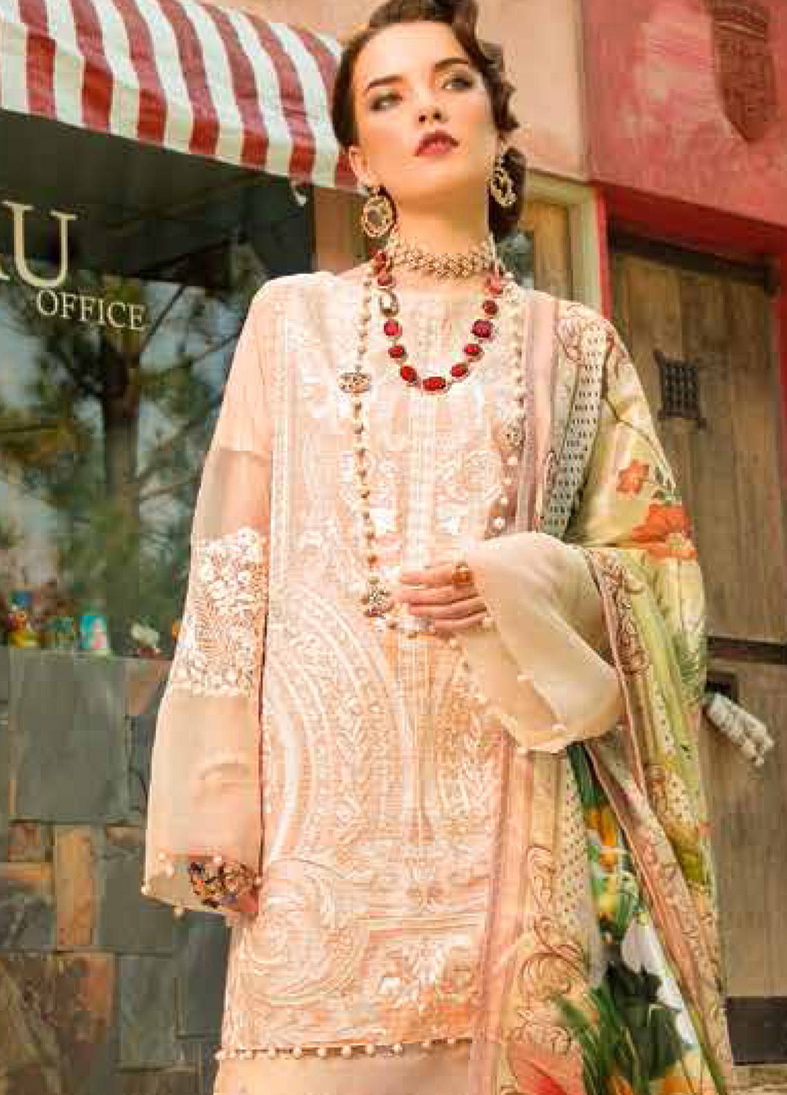 MusCari Embroidered Lawn Unstitched 3 Piece Suit MC19F 02 IVORY - Festive Collection