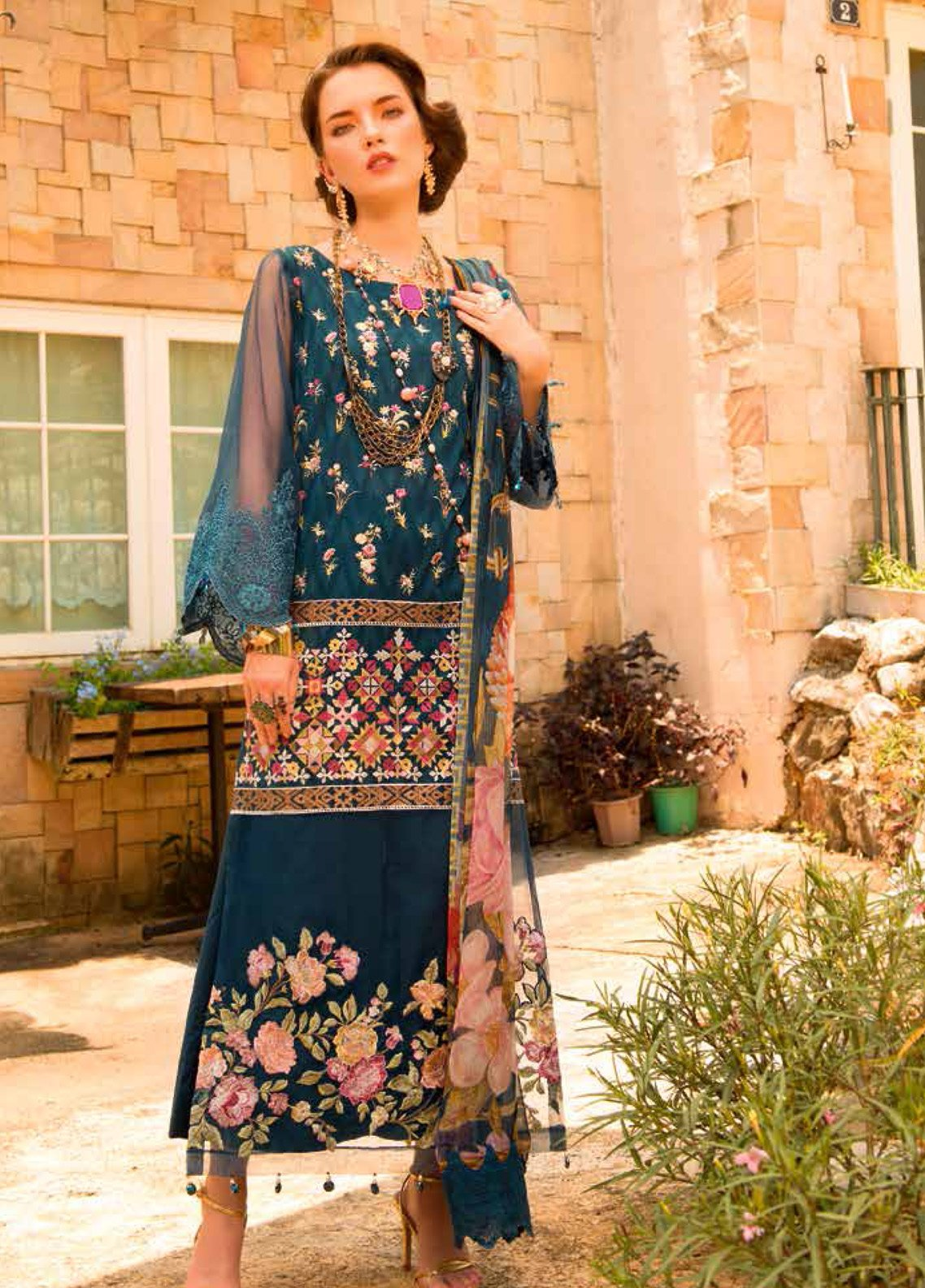 MusCari Embroidered Lawn Unstitched 3 Piece Suit MC19F 04 BLUE ASHES - Festive Collection