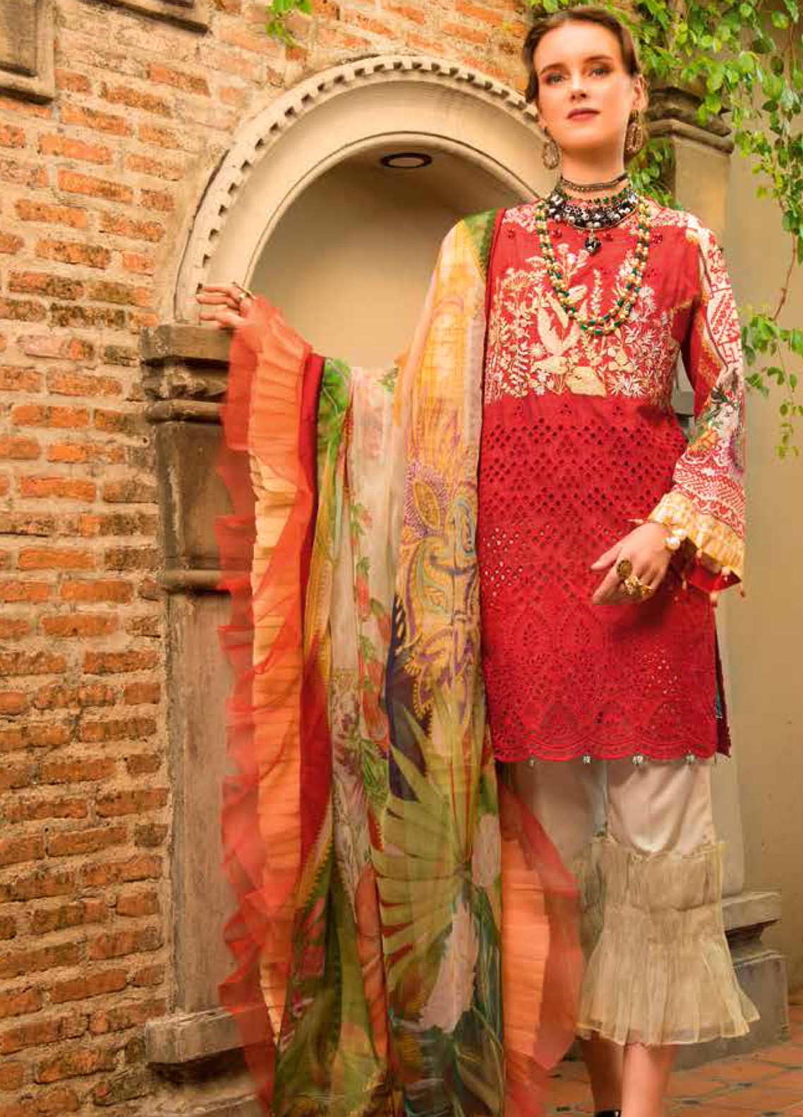 MusCari Embroidered Chikankari Unstitched 3 Piece Suit MC19F 09 SIGNAL RED - Festive Collection