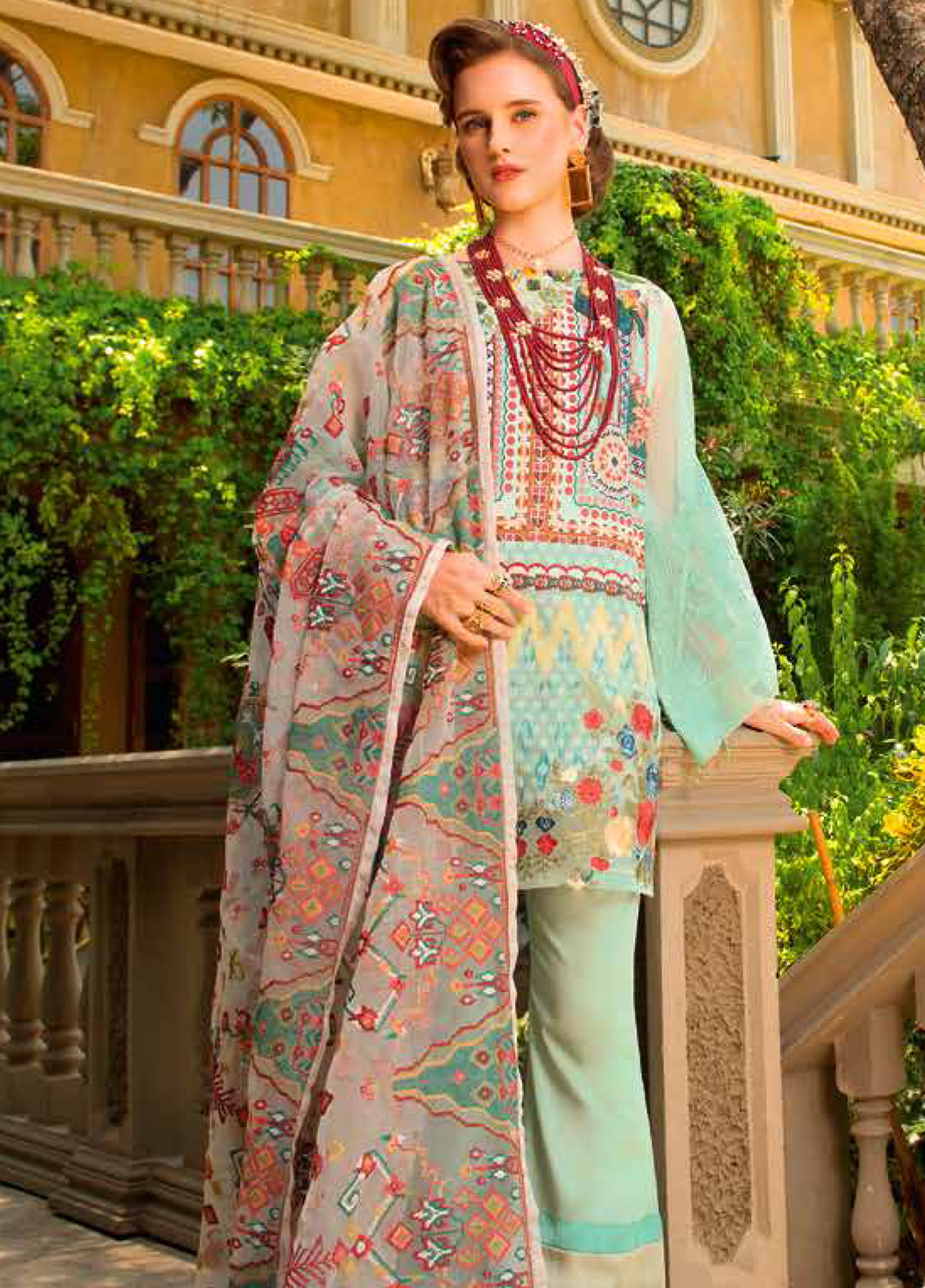 MusCari Embroidered Lawn Unstitched 3 Piece Suit MC19F 10 HONEY DEW - Festive Collection