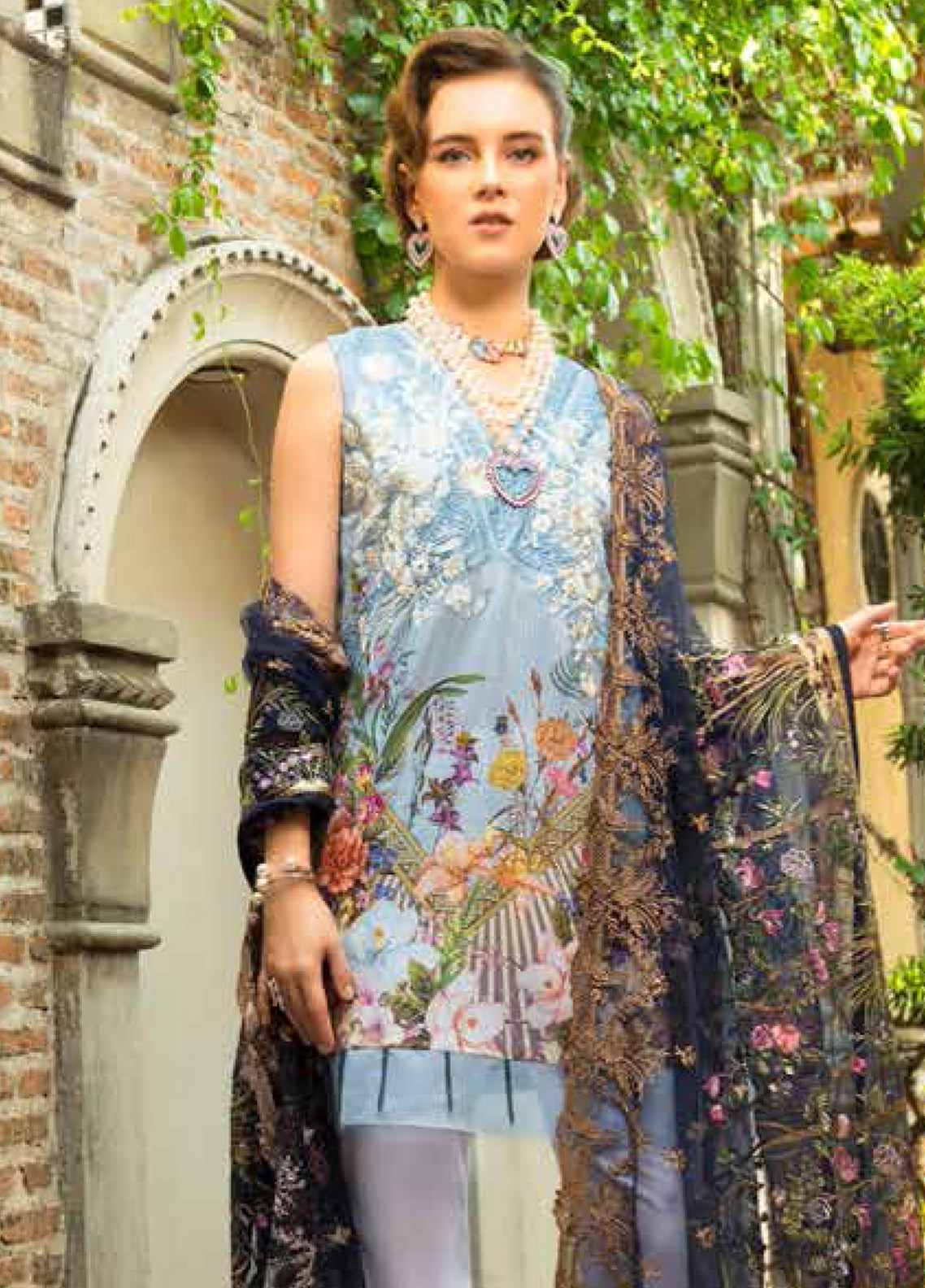 MusCari Embroidered Lawn Unstitched 3 Piece Suit MC19F 14 BLUE GLOW - Festive Collection