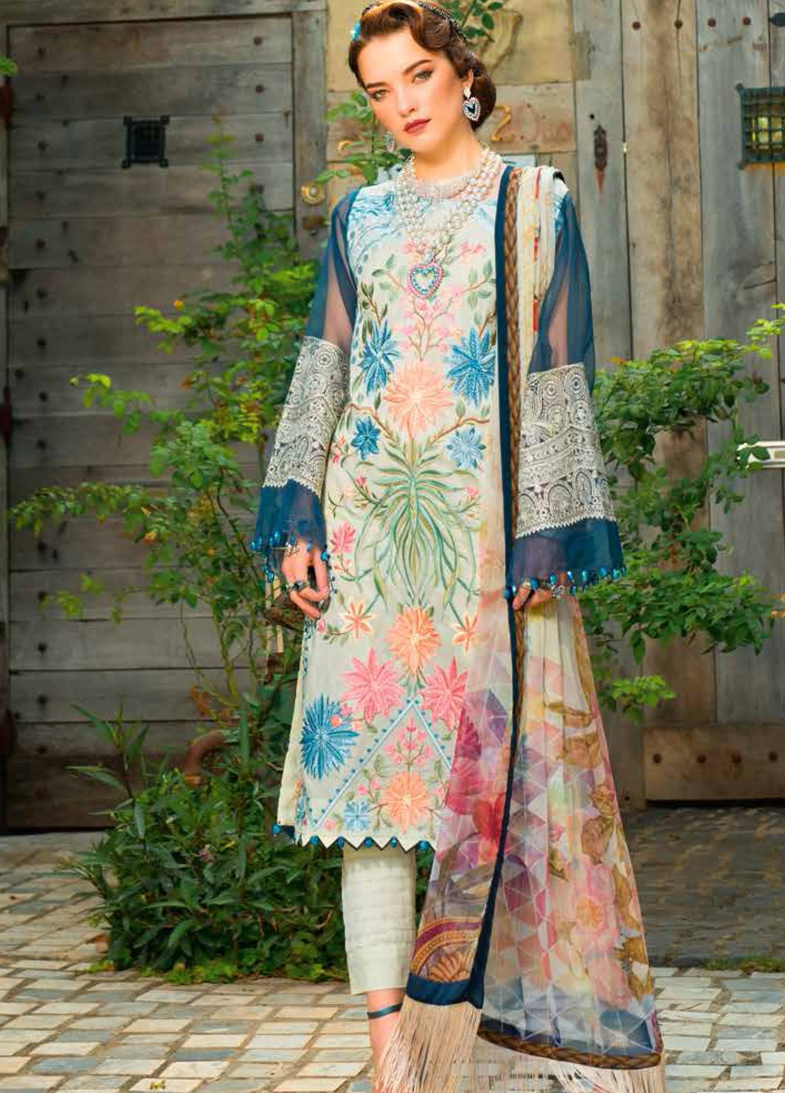 MusCari Embroidered Lawn Unstitched 3 Piece Suit MC19F 15 LIGHT CREAM - Festive Collection