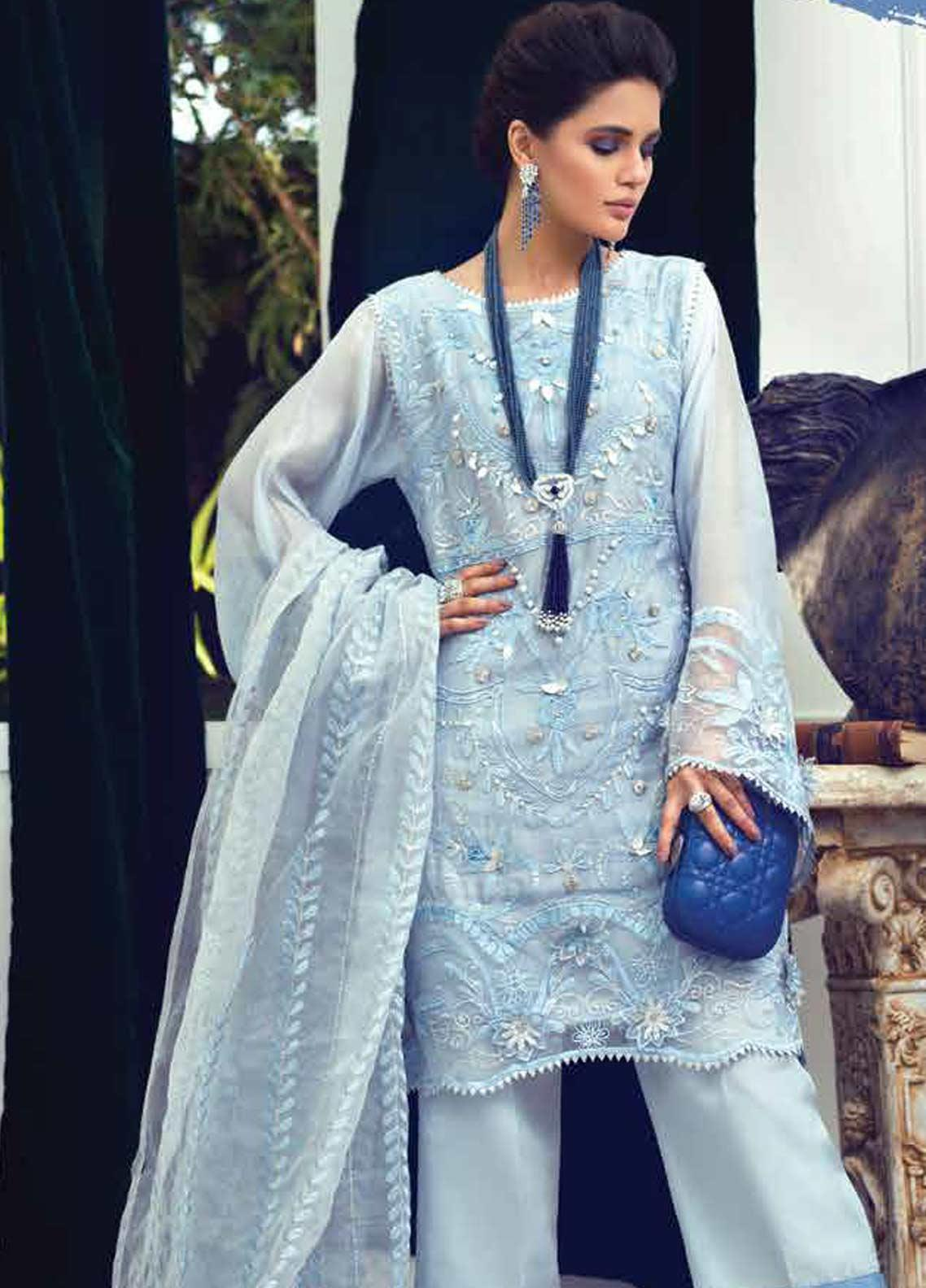 Mushq Embroidered Chiffon Unstitched 3 Piece Suit MSQ19LF 02 SEA PEARL - Festive Collection