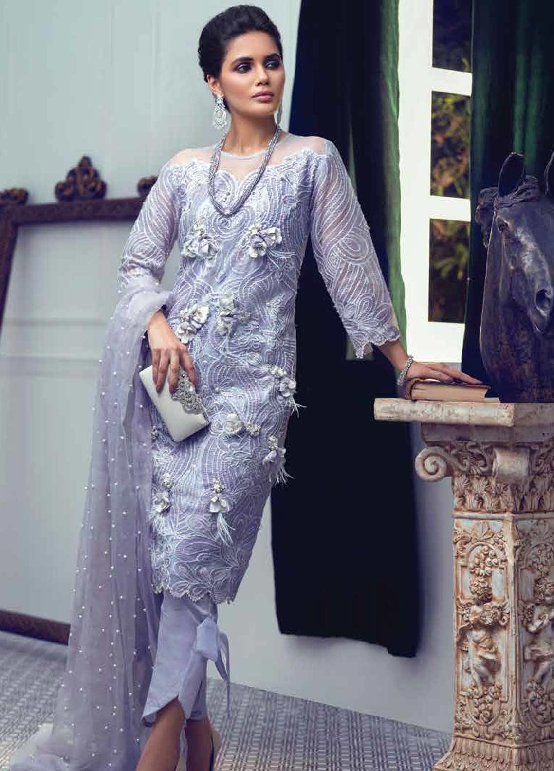 Mushq Embroidered Chiffon Unstitched 3 Piece Suit MSQ19LF 05 NIRVANA - Festive Collection