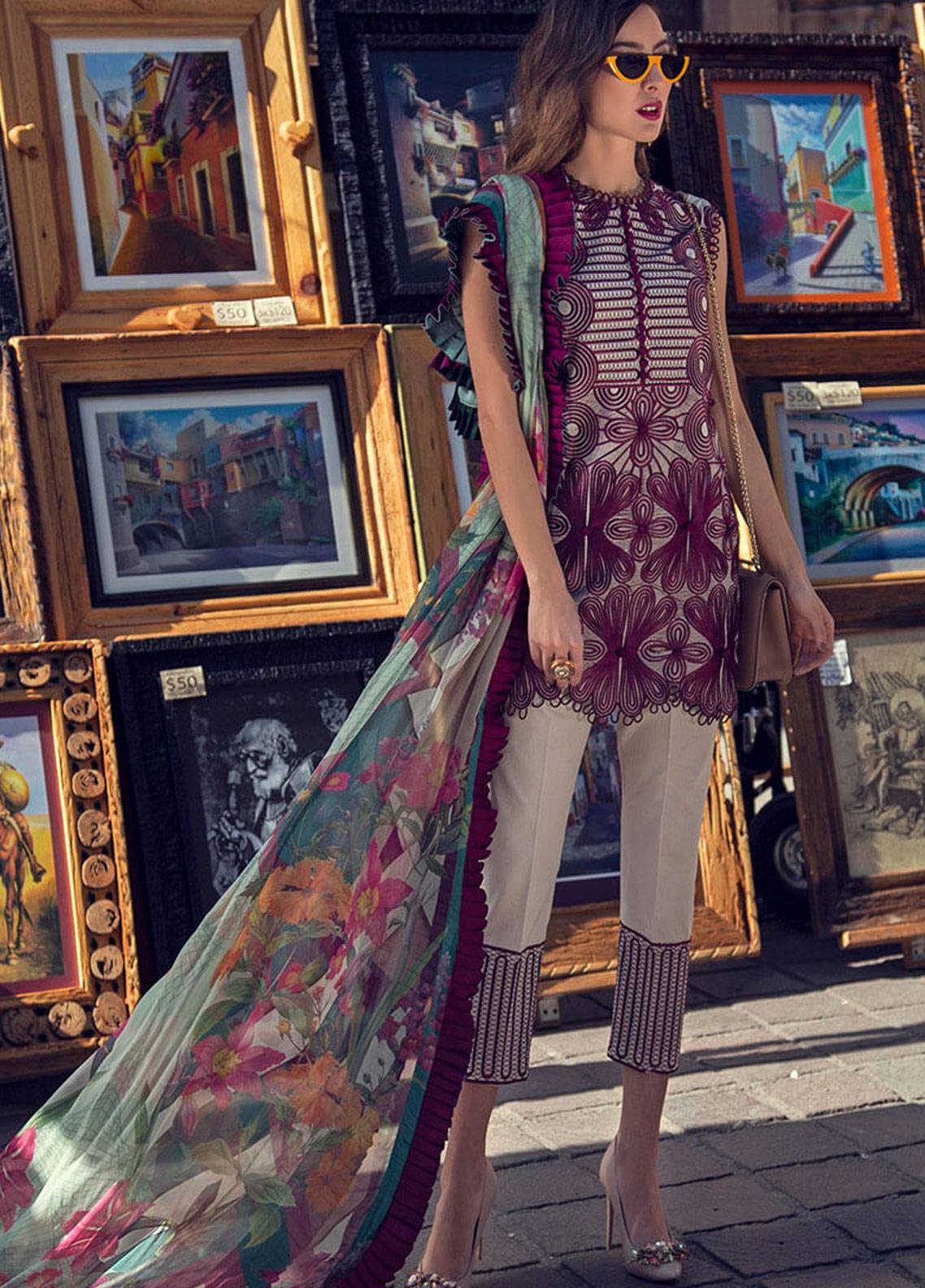 Mushq Embroidered Lawn Unstitched 3 Piece Suit MSQ19L 04 LYCORIS - Spring / Summer Collection