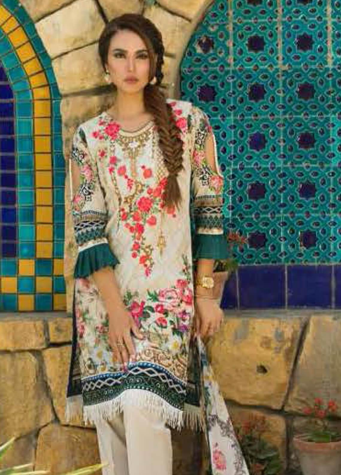 Nadia Hussain Embroidered Lawn Unstitched 3 Piece Suit NH19L 04 - Spring / Summer Collection