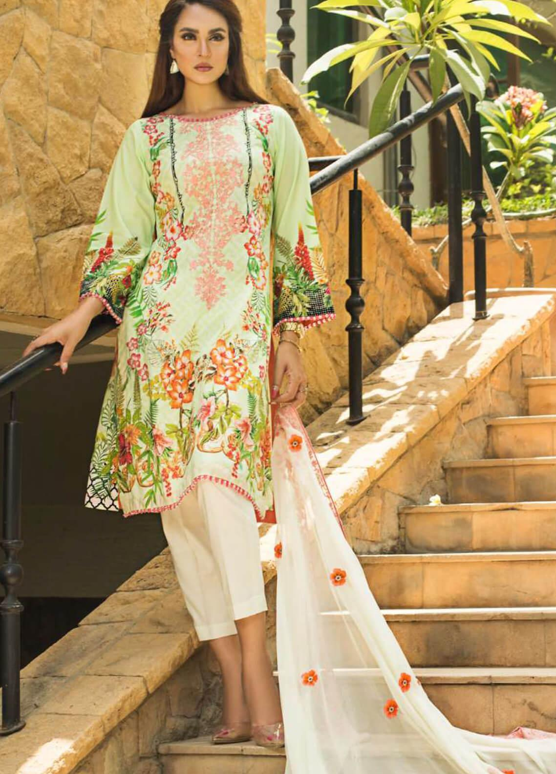 Nadia Hussain Embroidered Lawn Unstitched 3 Piece Suit NH19L 05 - Spring / Summer Collection
