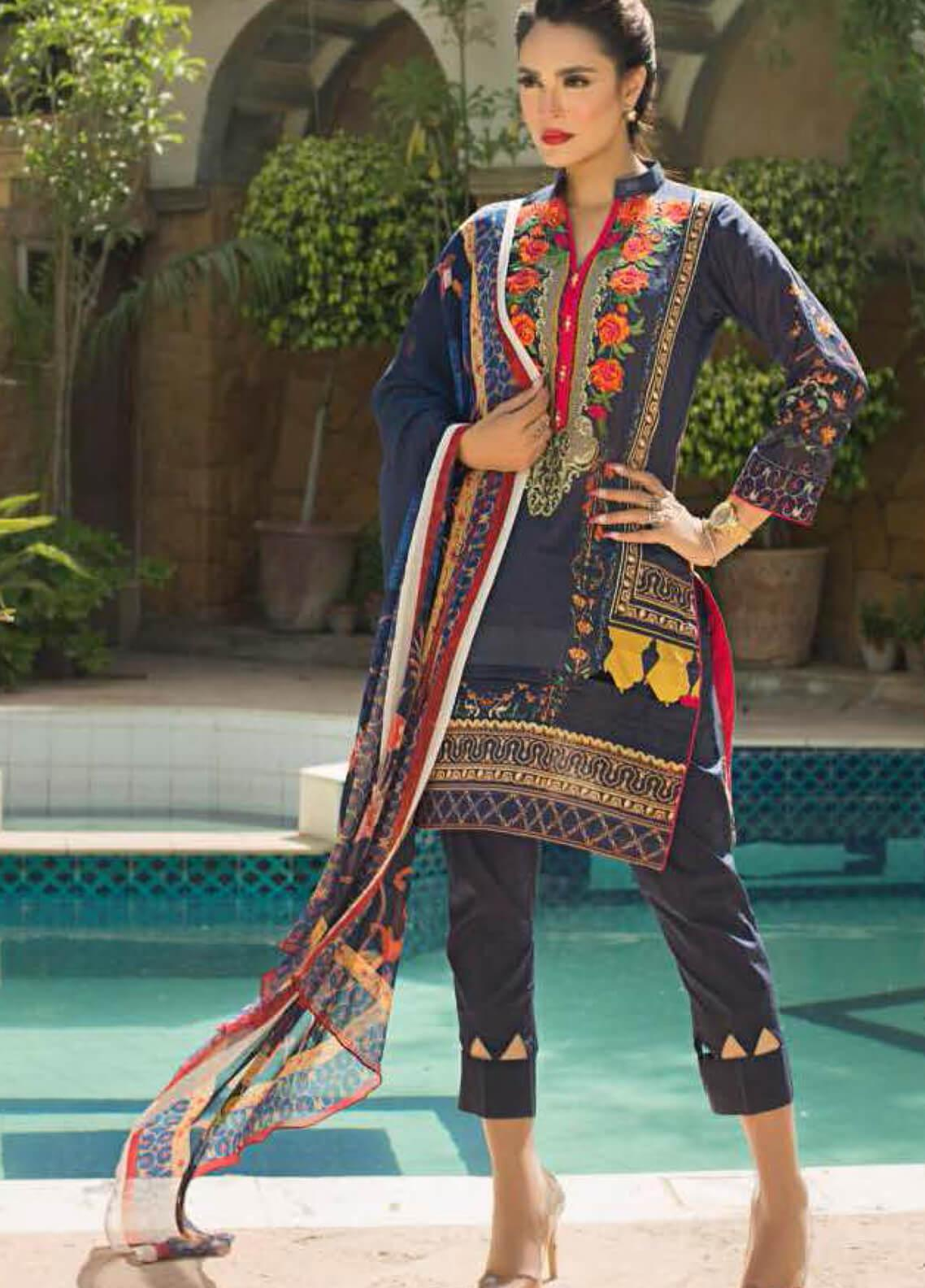 Nadia Hussain Embroidered Lawn Unstitched 3 Piece Suit NH19L 10 - Spring / Summer Collection