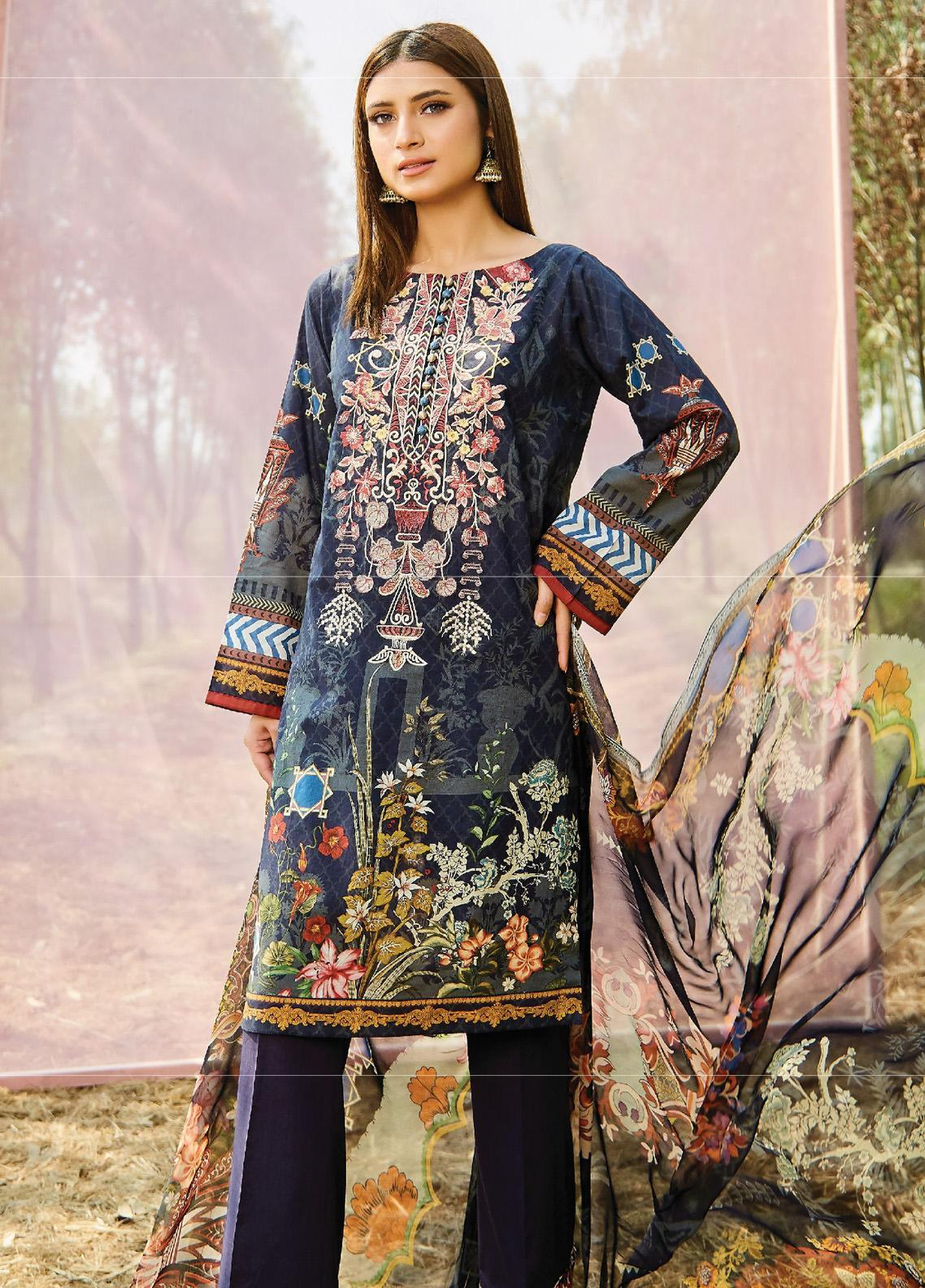 Naqsh by Florent Embroidered Lawn Unstitched 3 Piece Suit F20NQ 10B - Spring / Summer Collection
