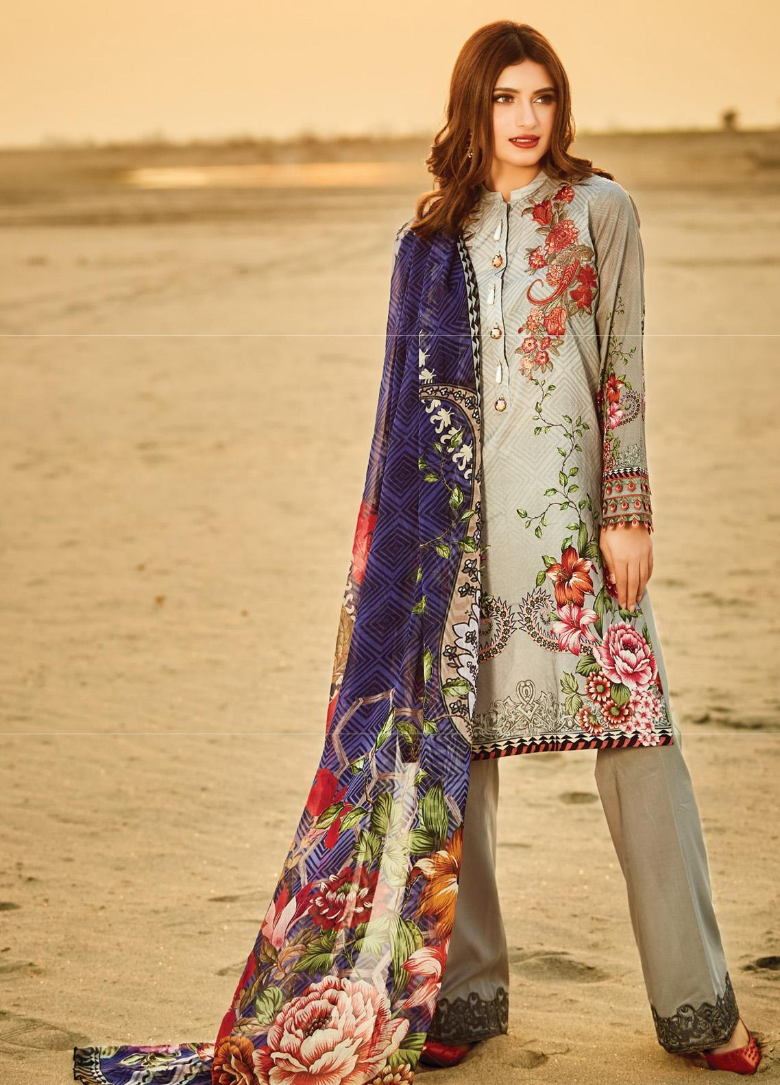 Naqsh by Florent Embroidered Lawn Unstitched 3 Piece Suit F20NQ 1B - Spring / Summer Collection