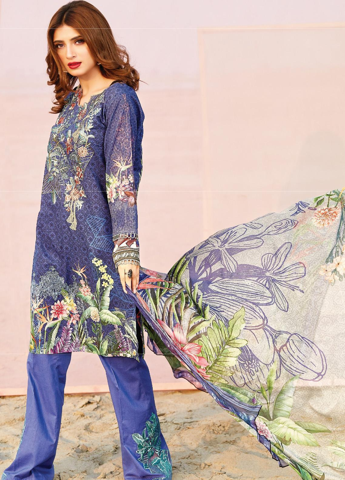 Naqsh by Florent Embroidered Lawn Unstitched 3 Piece Suit F20NQ 4B - Spring / Summer Collection