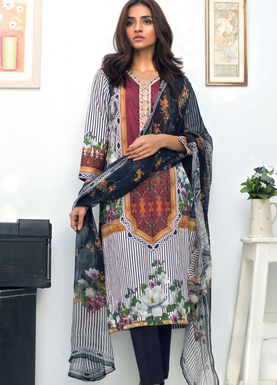 Nisha Bawany by Regalia Textiles Embroidered Lawn Unstitched 3 Piece Suit NB19L 1B - Spring / Summer Collection